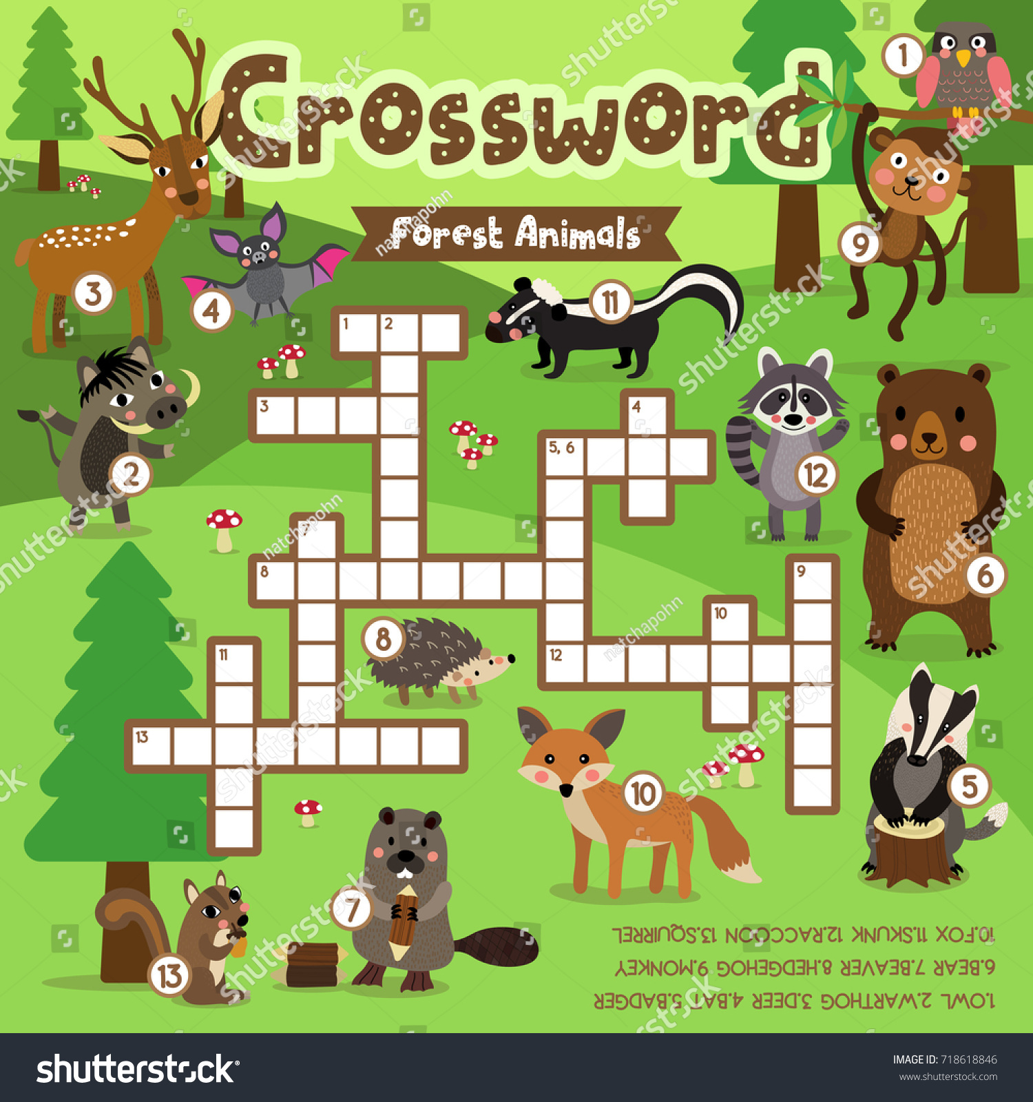 crosswords puzzle game forest animals preschool stock vector