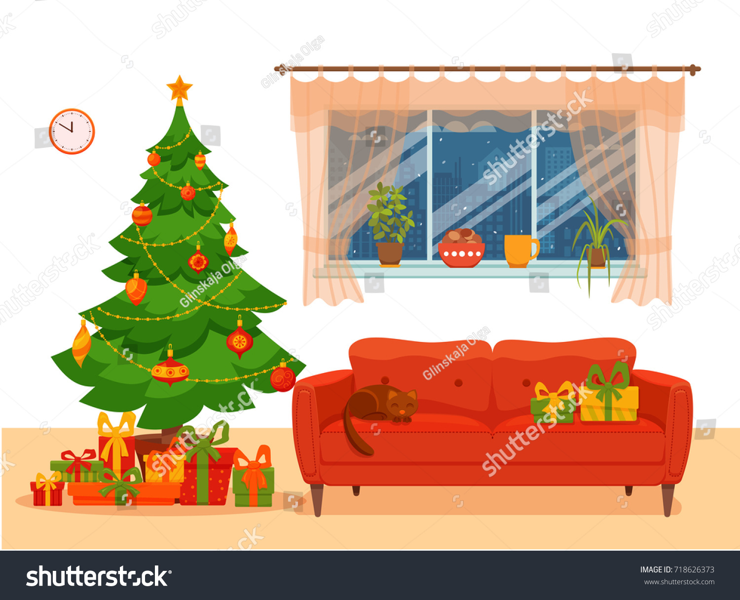 Christmas Decorations Clip Art In Living Room Modern