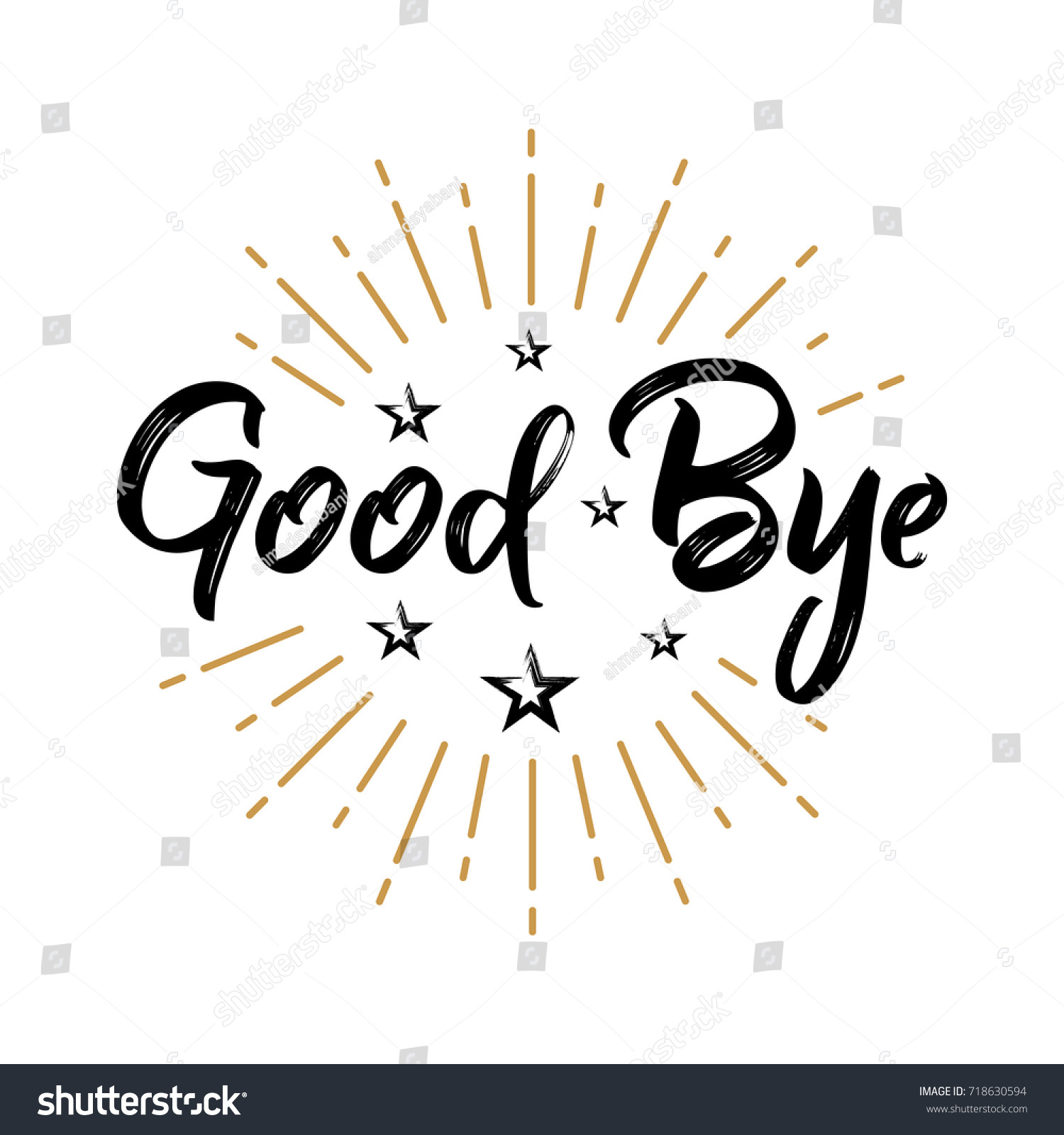 Good bye fireworks message quote sign stock vector 718630594 good bye fireworks message quote sign lettering handwritten vector kristyandbryce Image collections