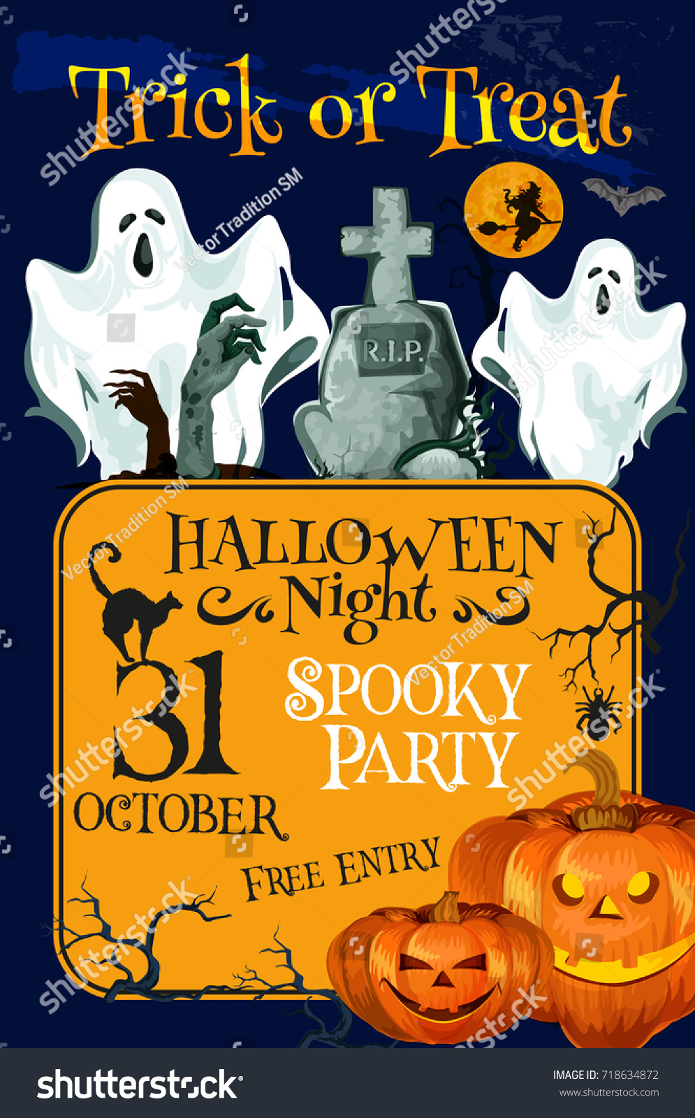 Halloween Spooky Night Party 31 October Vector 718634872 – Scary or Horror Invitation Cards