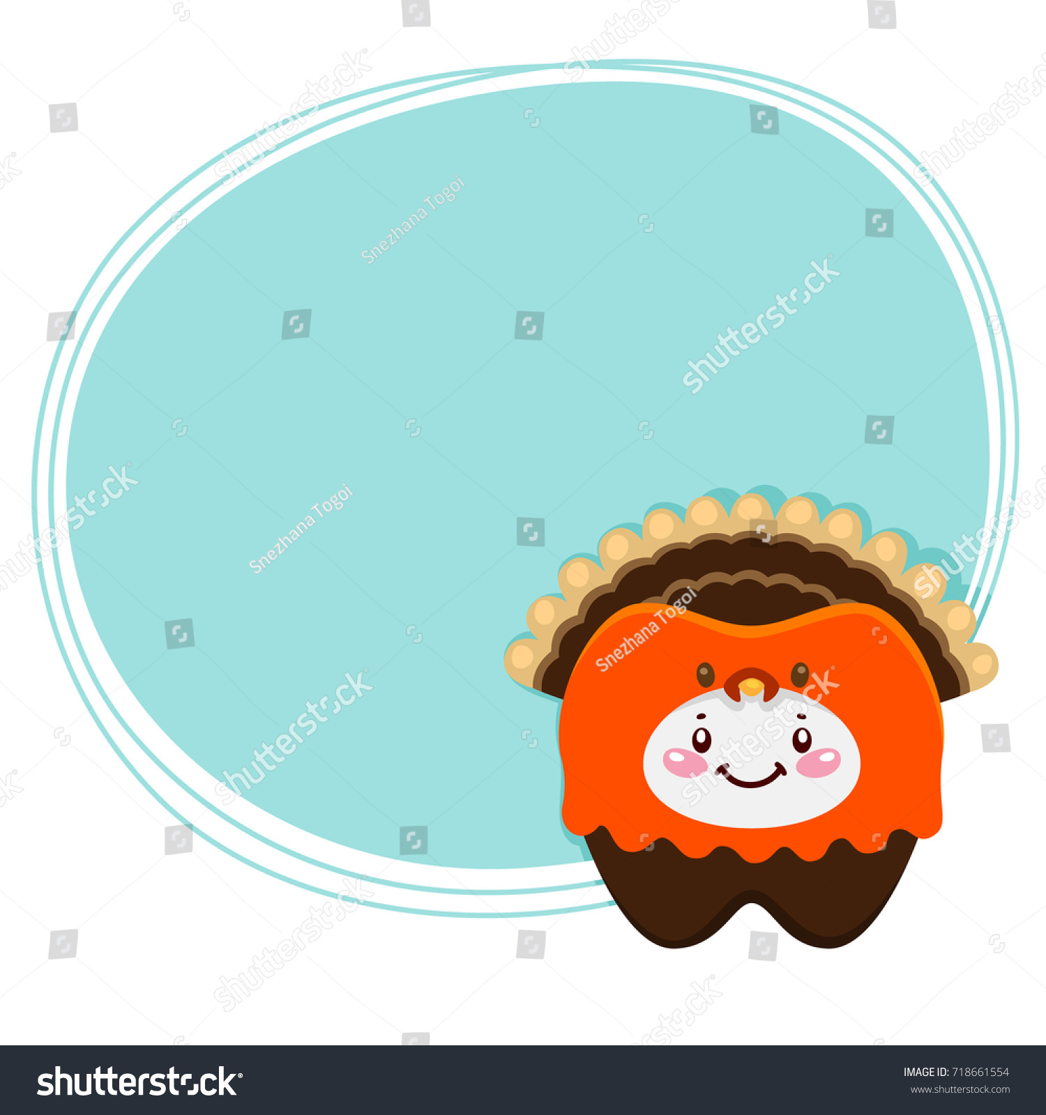 Cute Tooth Turkey Costume Thanksgiving Day Stock Vector (Royalty ...