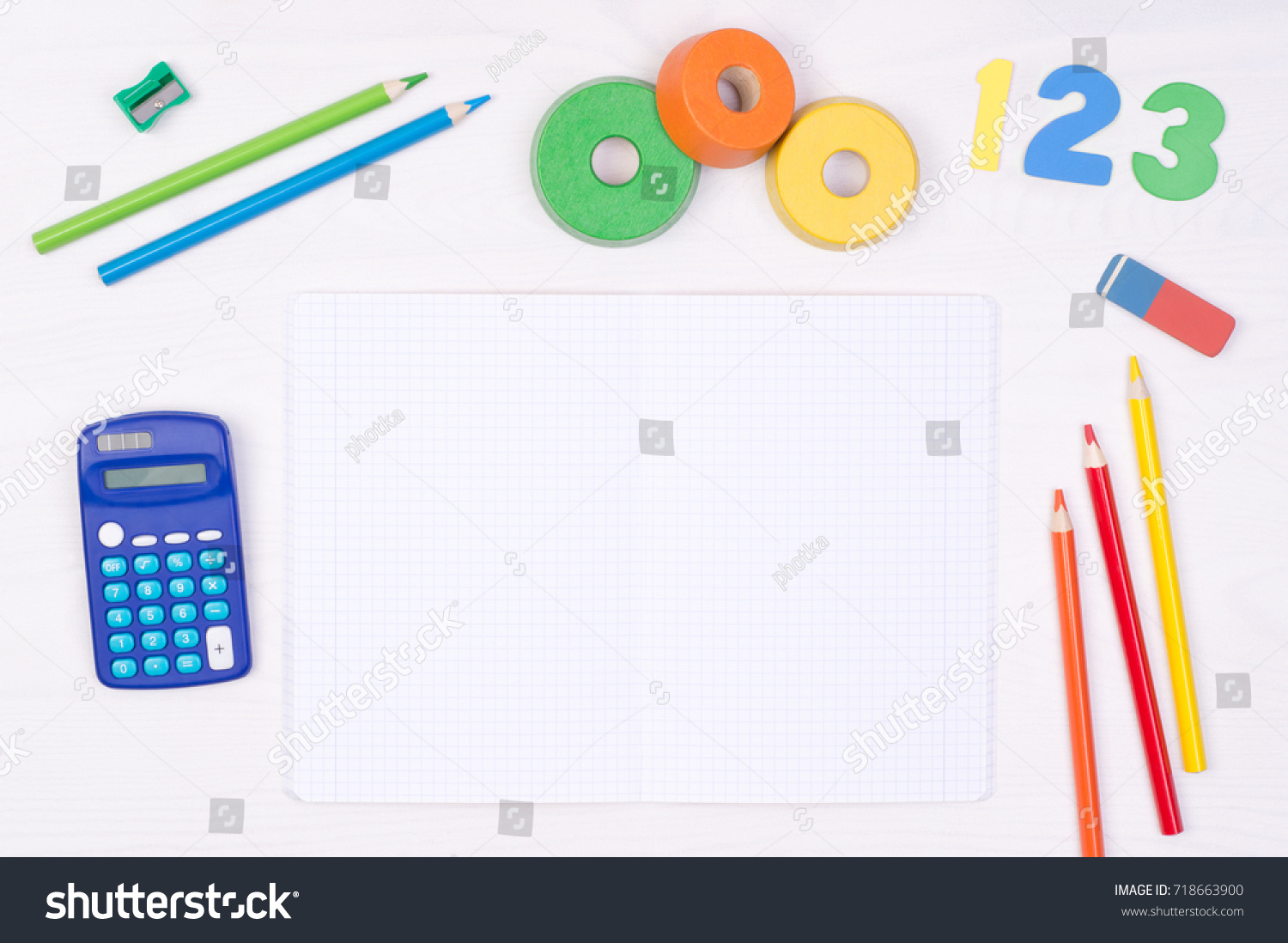 Learning Maths Kids Desk Blank Notebook Stock Photo (Royalty Free ...