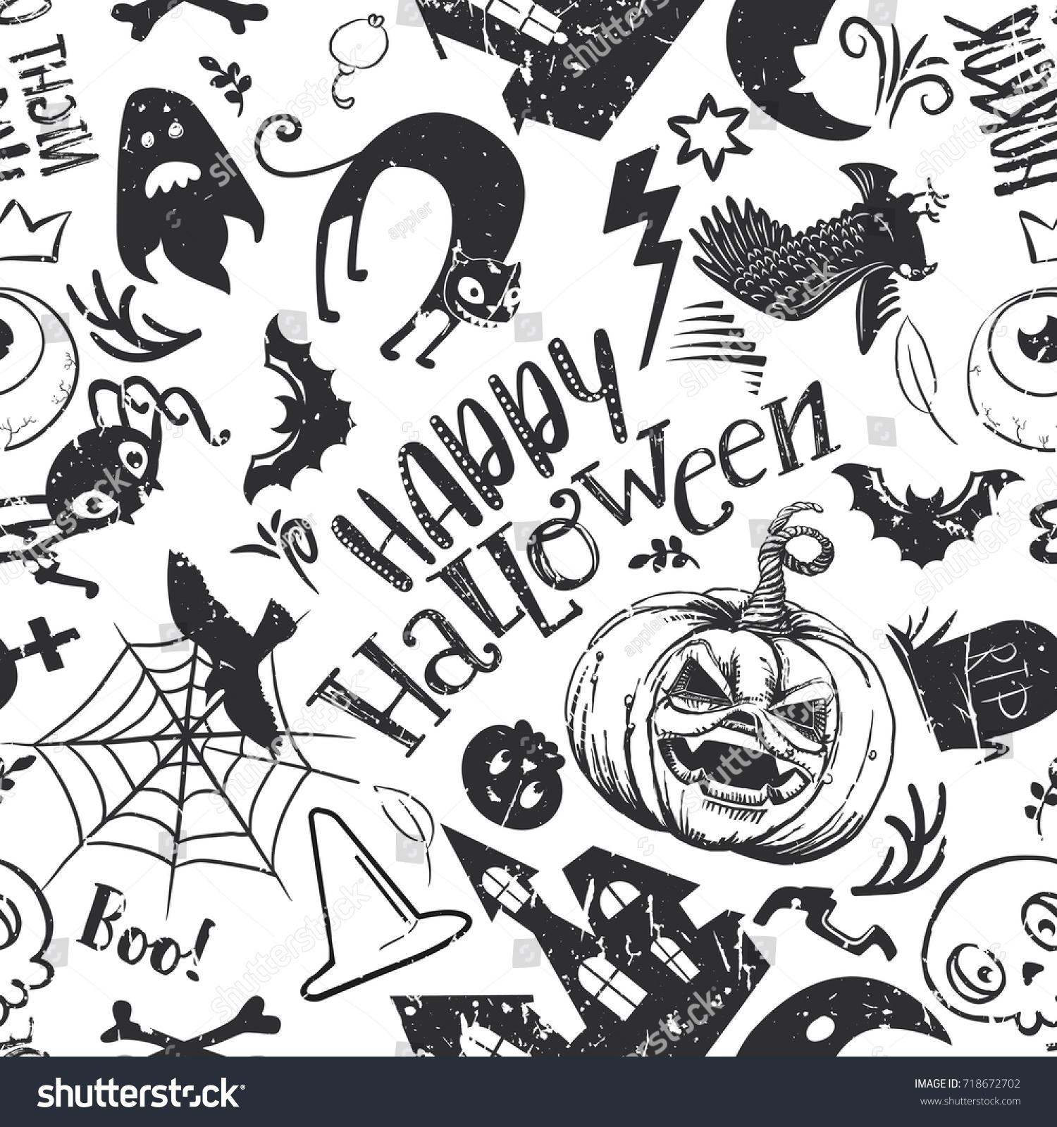 Haloween Seamless Pattern Cartoon Style Black Stock Illustration ...