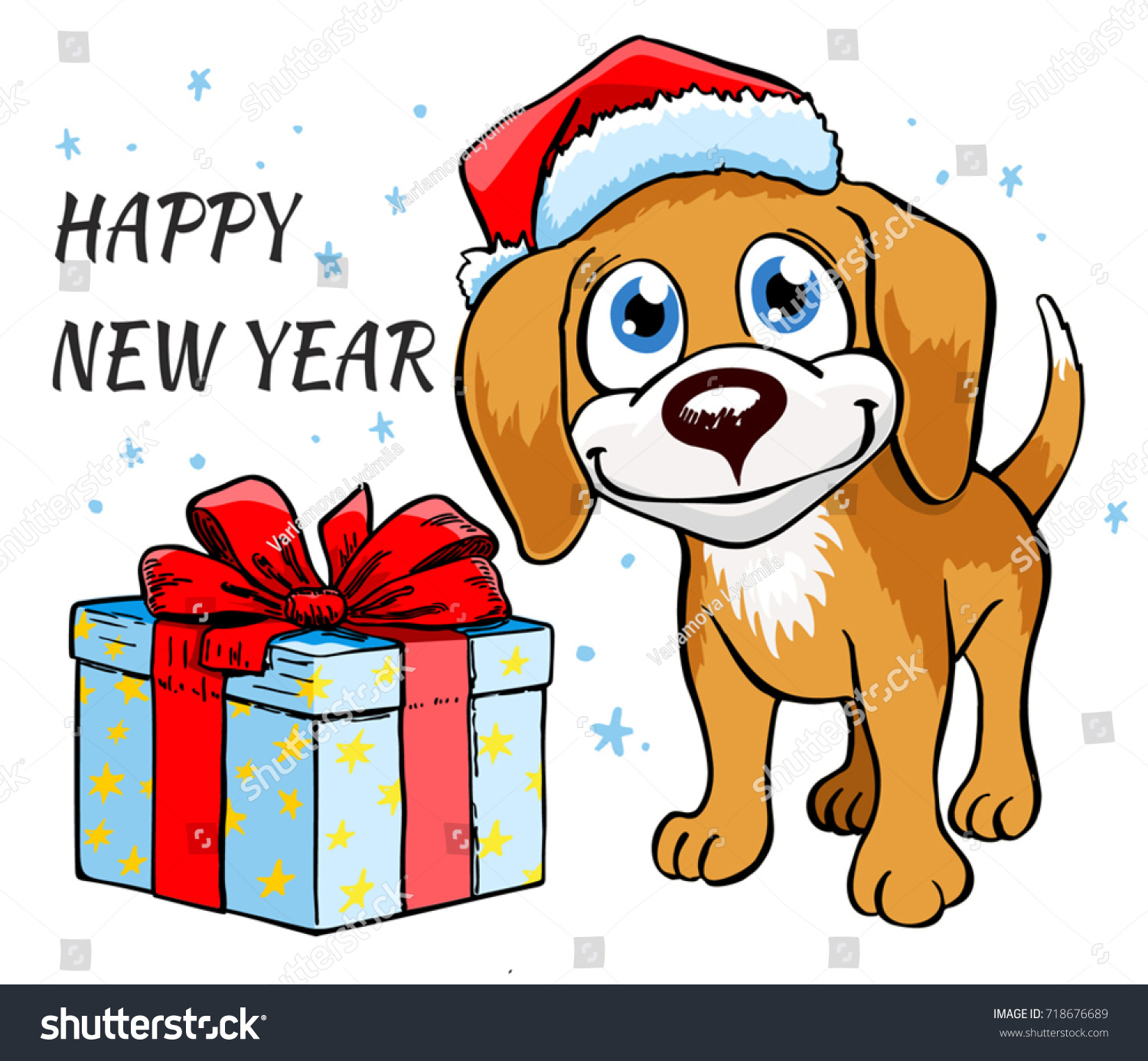 Dog Christmas Gifts Christmas Vector Illustration Stock Vector ...