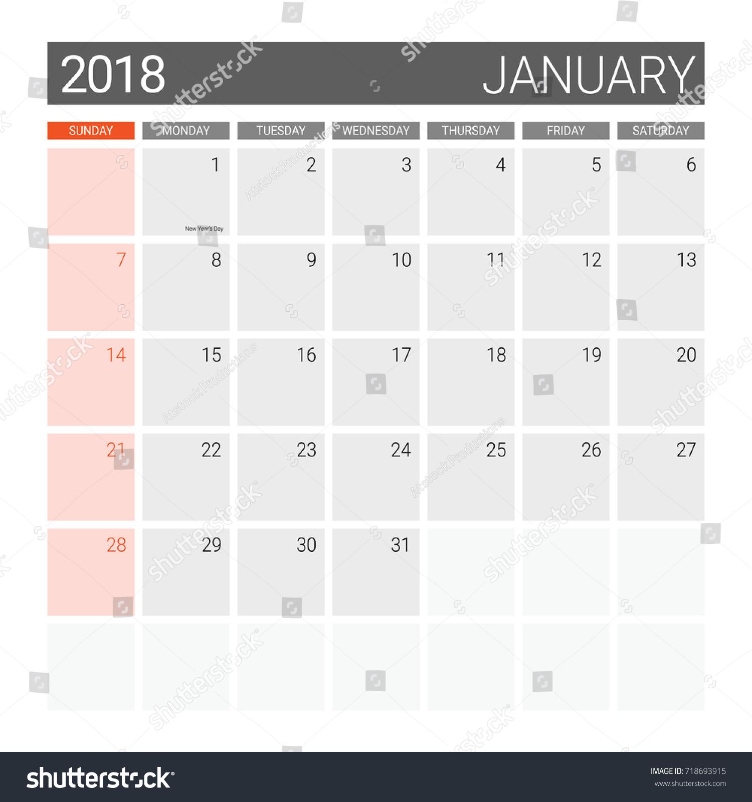 2018 january calendar or desk planner weeks start on sunday gray theme square