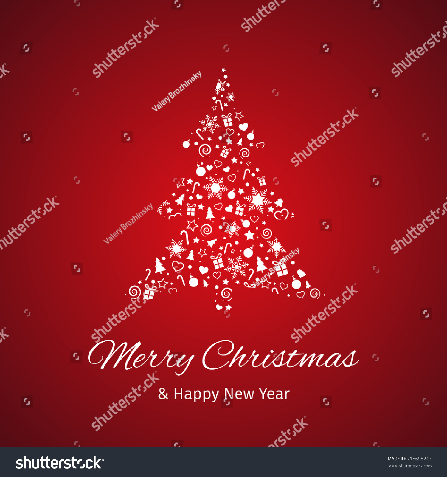 Christmas New Year Greeting Card Tree Stock Illustration 718695247