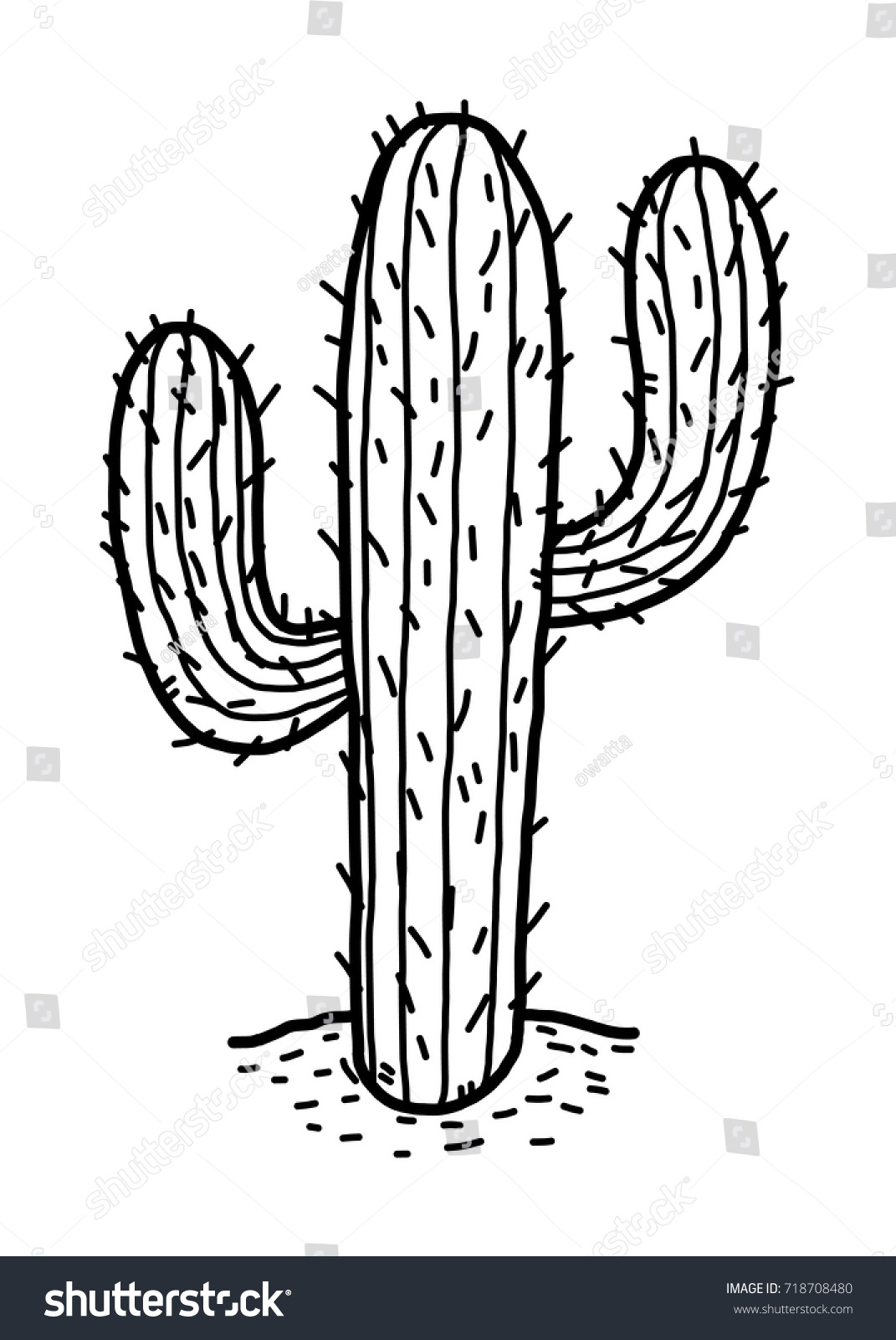 Cactus Desert Cartoon Vector Illustration Black Stock ...