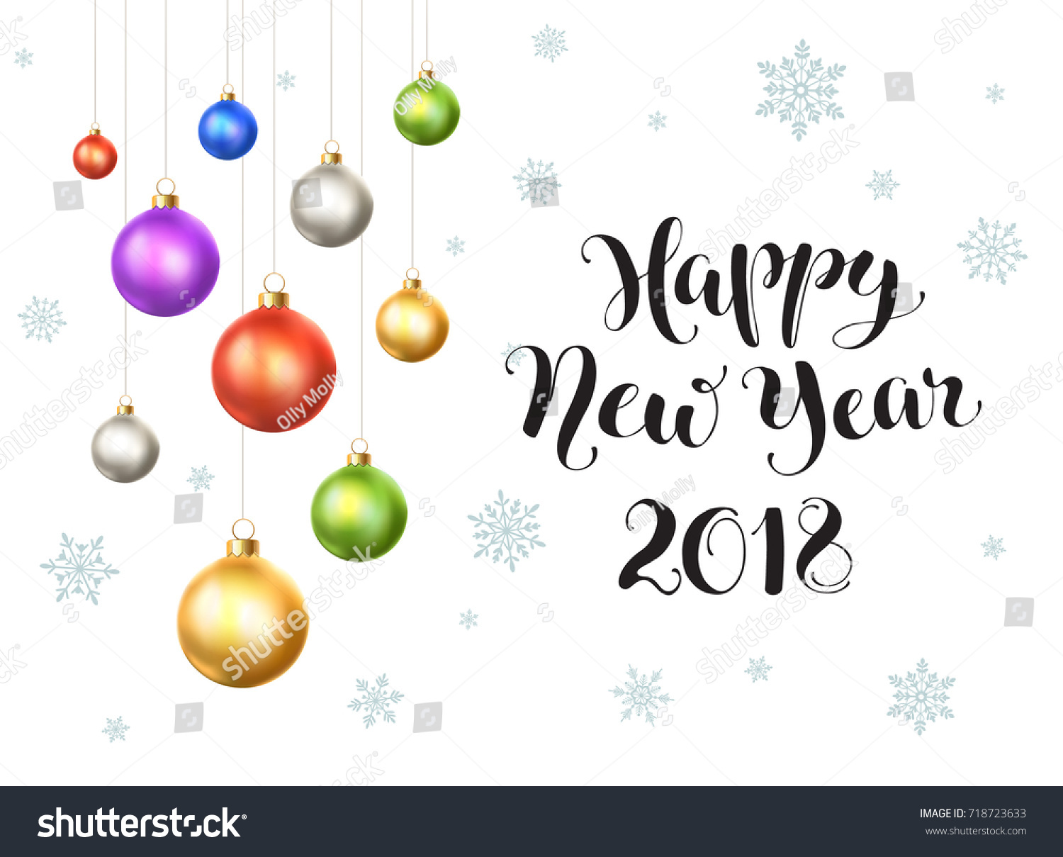 Happy New Year 2018 Postcard Template Stock Vector (Royalty Free ...