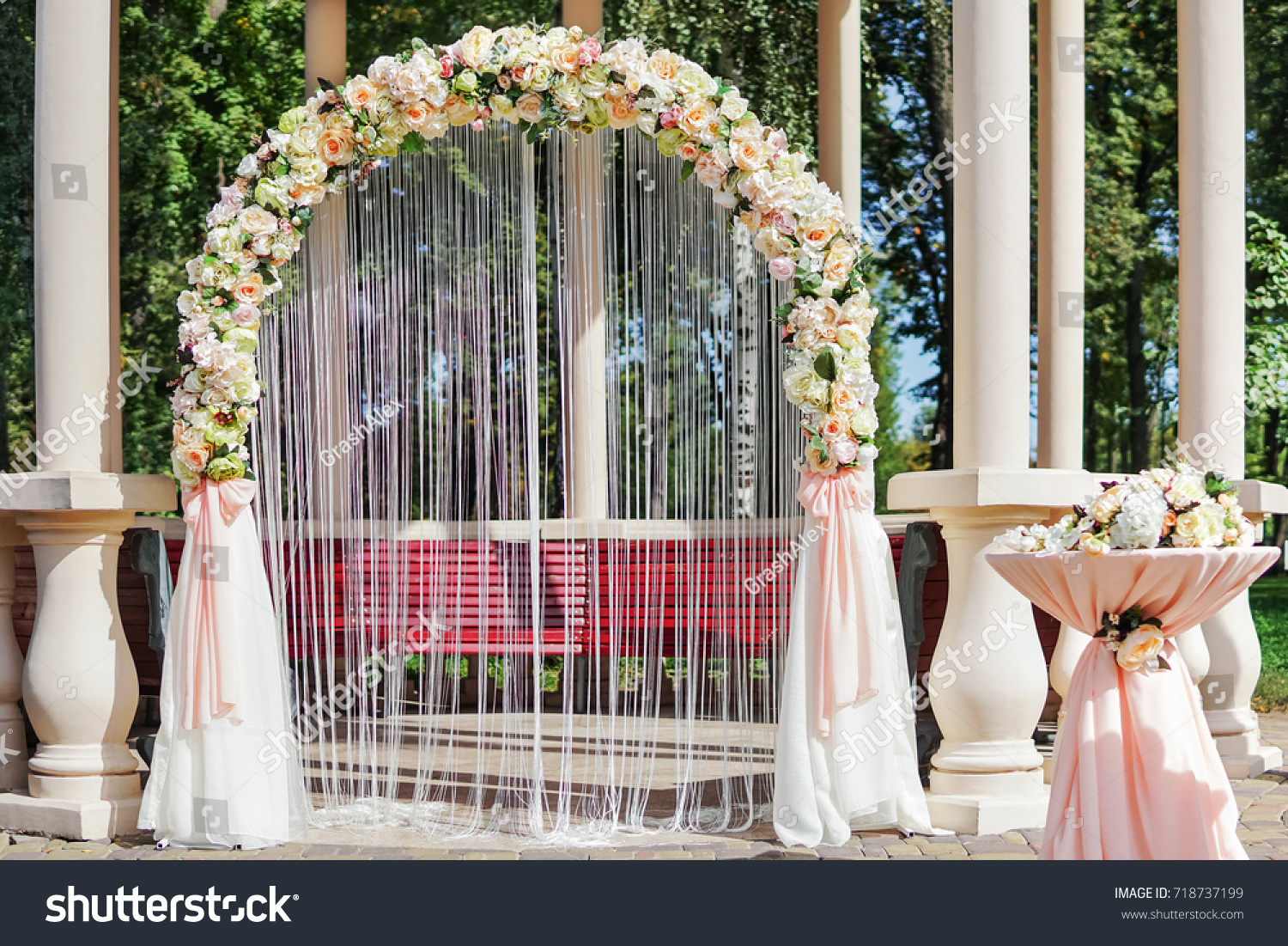 Altar Wedding Decorated Flowers Form Arch Stock Photo Edit Now