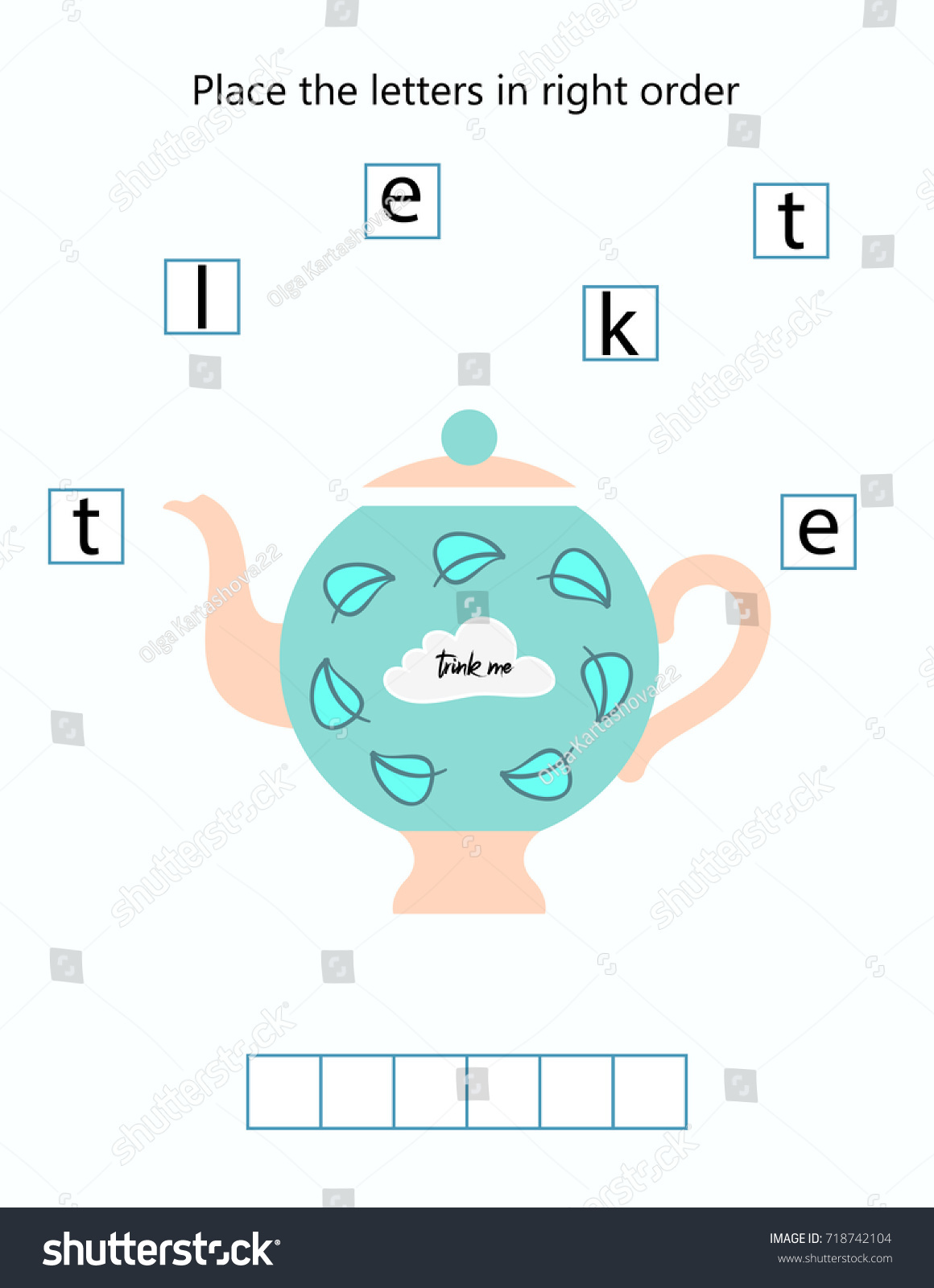 Place Letters Right Order Kindergarten Worksheet Stock Vector ...