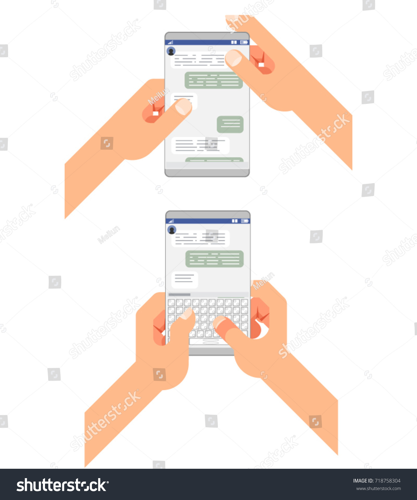 Chat Accept Reading Type Send Message Stock Vector Royalty Free How To Read Cellphones Schematic Diagrams Social Messenger Window Chatting Messaging Mobile Phone Hands Concept Design