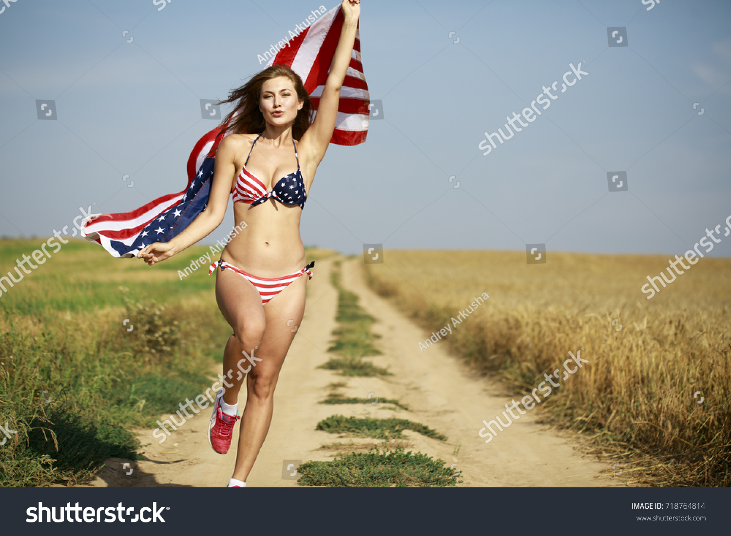 a43b3e38adbf5 Young beautiful blonde woman in sexy American flag bikini in a wheat field