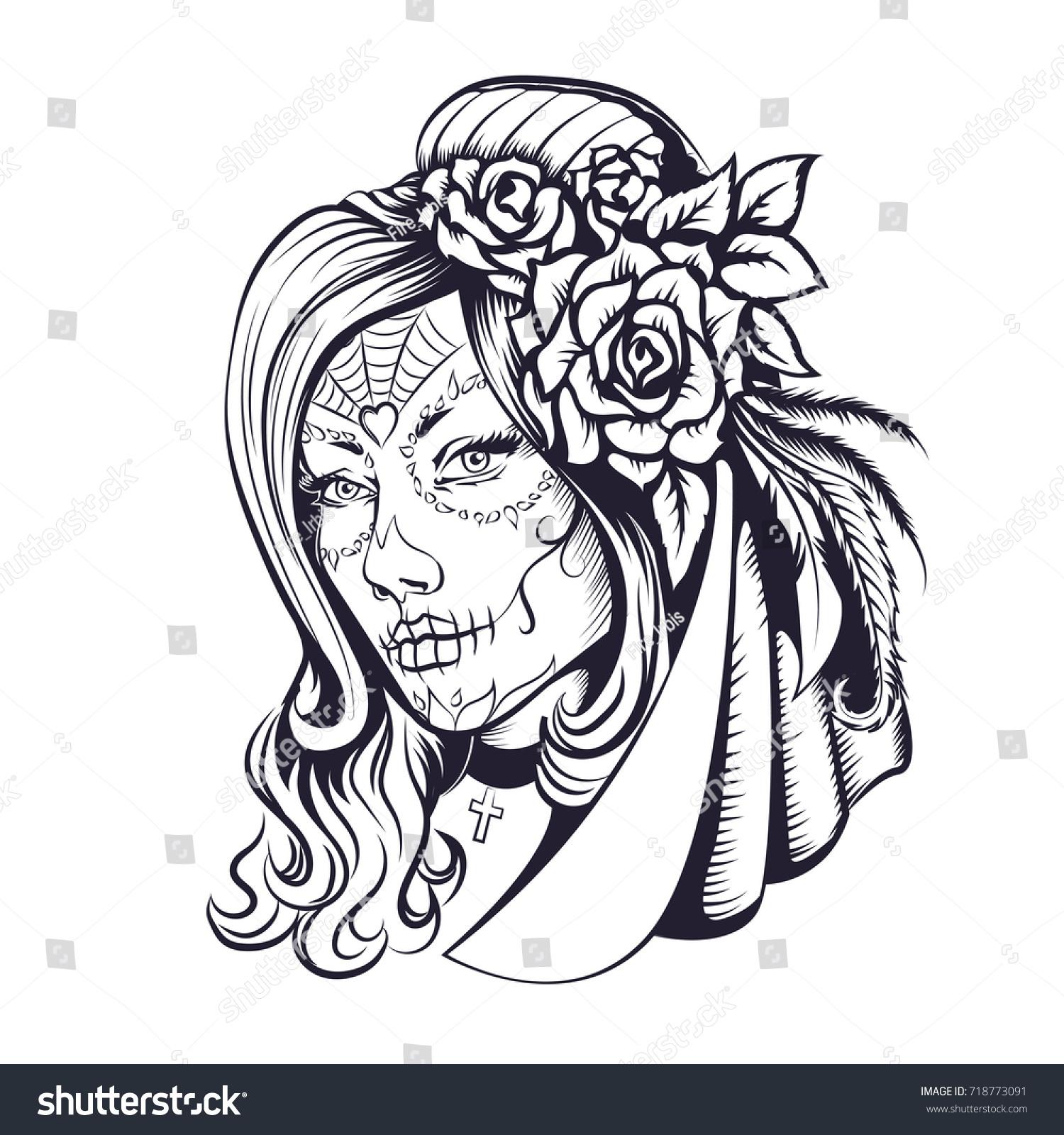 Day Dead Makeup Girl Flowers Hair Stock Illustration 718773091 ...