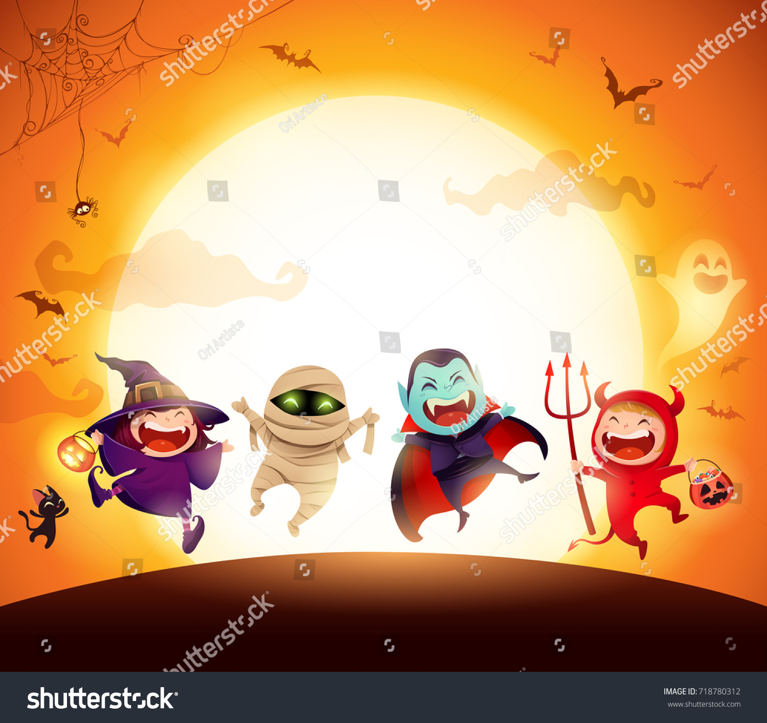 Halloween Kids Costume Party. Group of kids in Halloween costume jumping in the moonlight. Orange background. #718780312