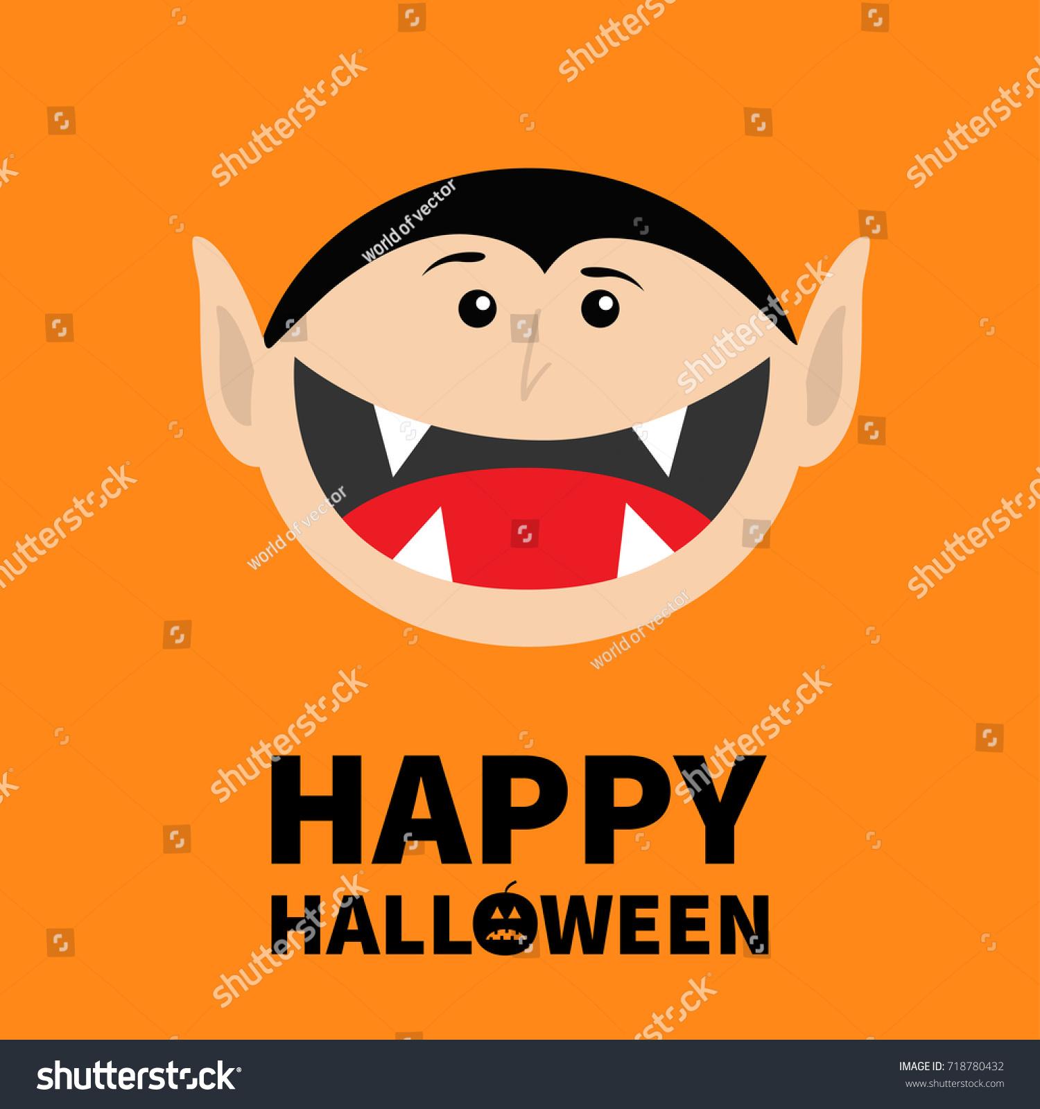Happy Halloween Pumpkin Text Count Dracula Stock Vector