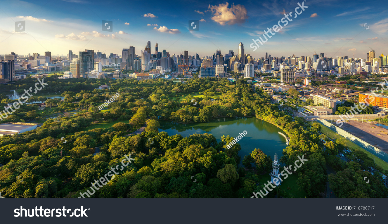 Lumpini park and Bangkok city building view from roof top bar on hotel, Bangkok, Thailand #718786717