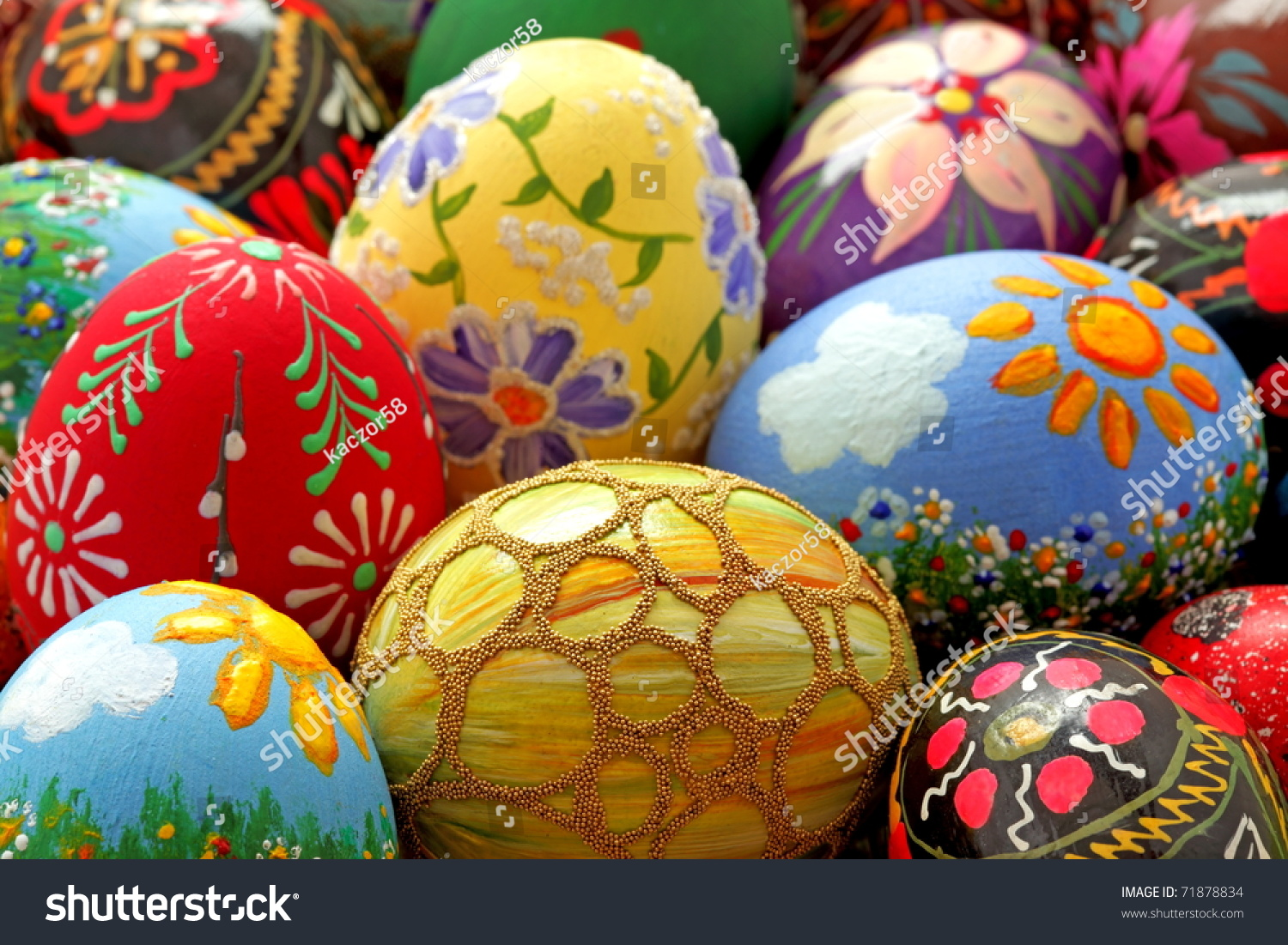easter egg hand painted beautiful colorful stock photo 71878834