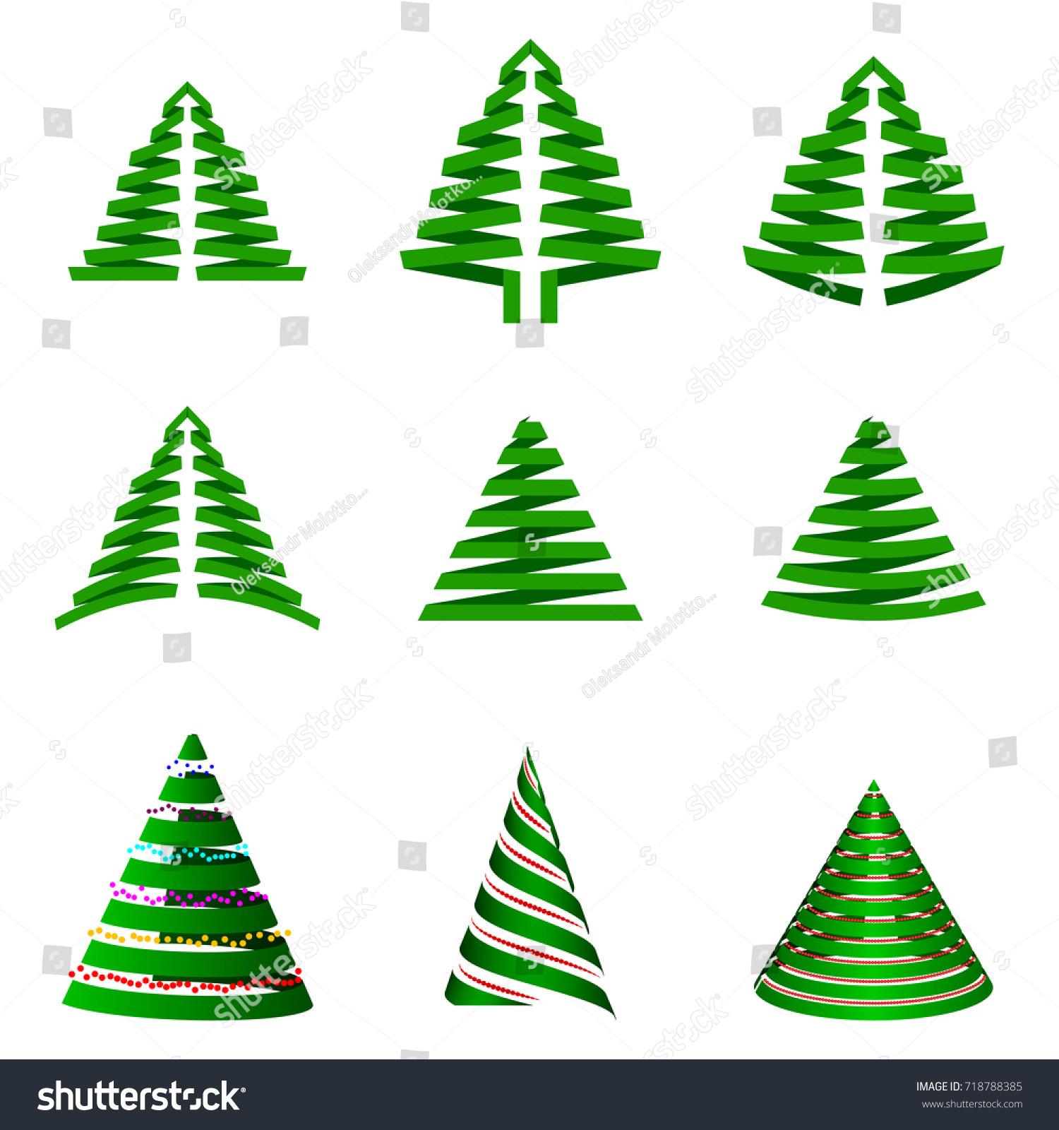 set christmas trees stylized xmas tree stock vector 718788385