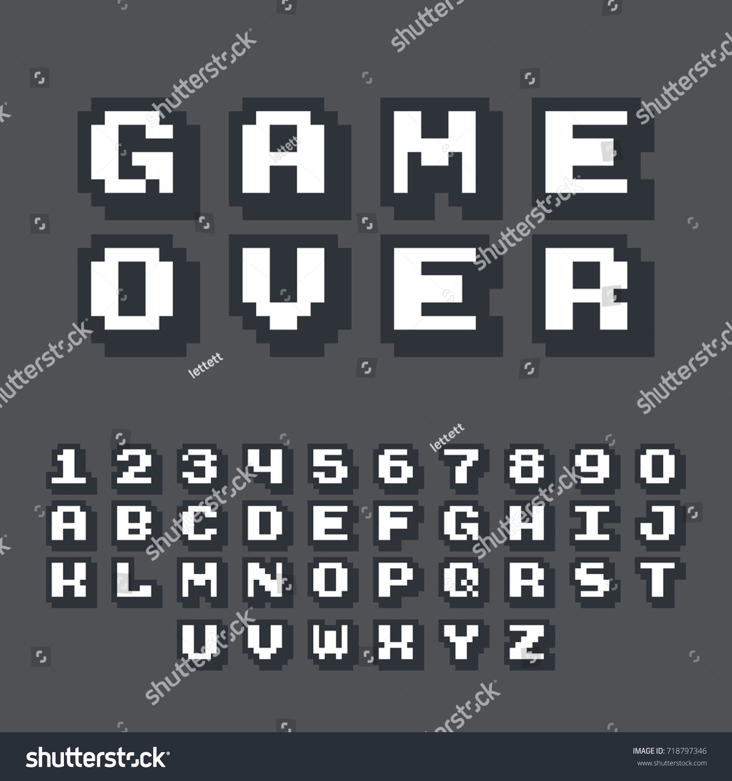 3d Pixel Video Game 8 Bit Stock Vector 718797346