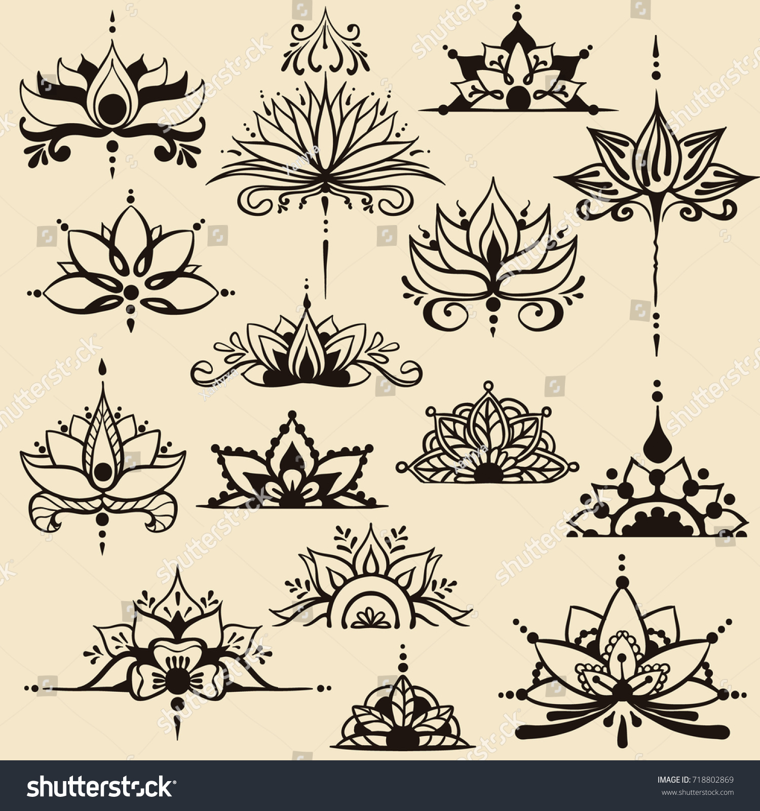 Fifteen freehand drawings lotus flowers east stock vector royalty fifteen freehand drawings of lotus flowers in east style can be used as a logo izmirmasajfo