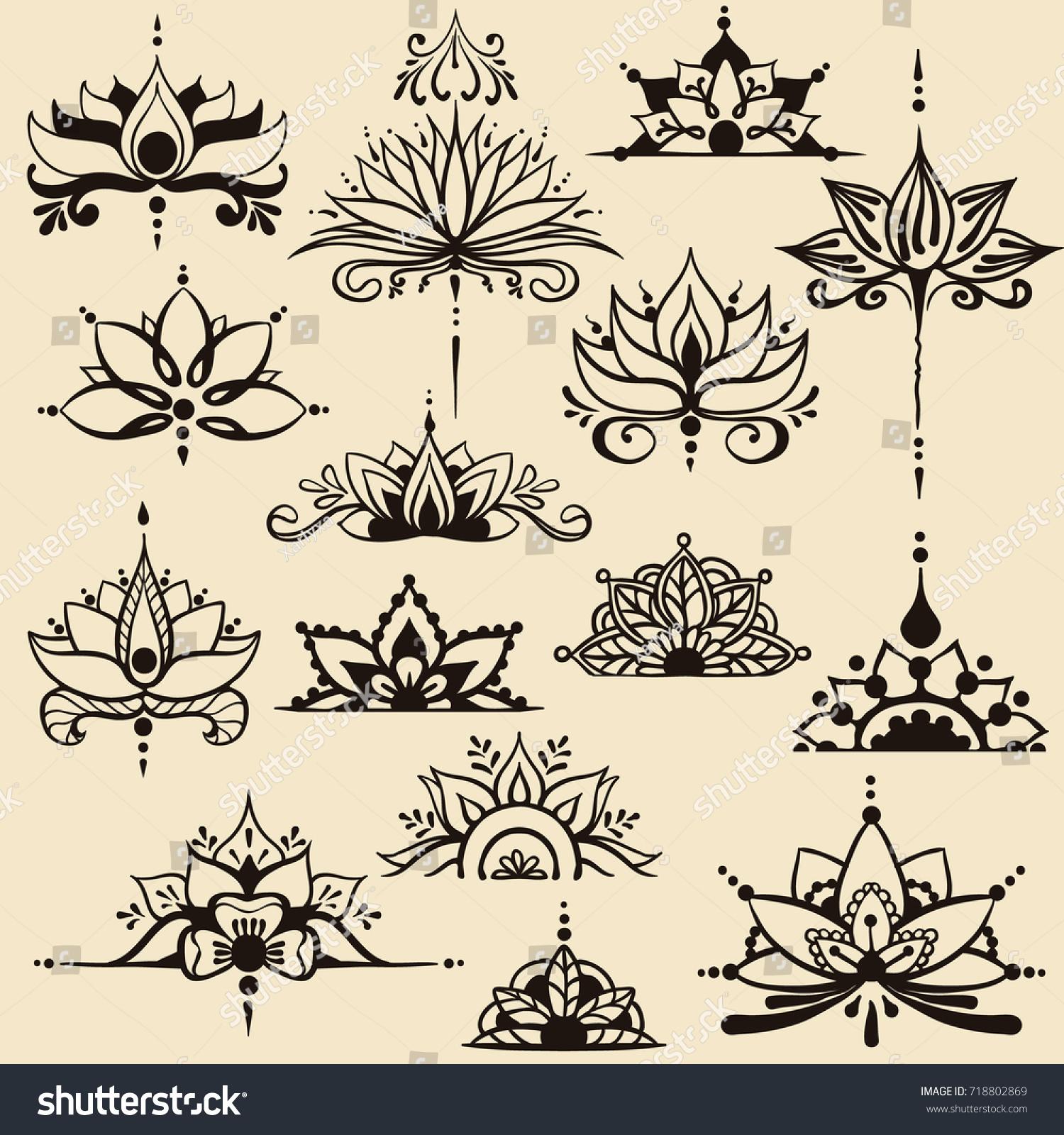 Fifteen Freehand Drawings Lotus Flowers East Stock Vector Royalty