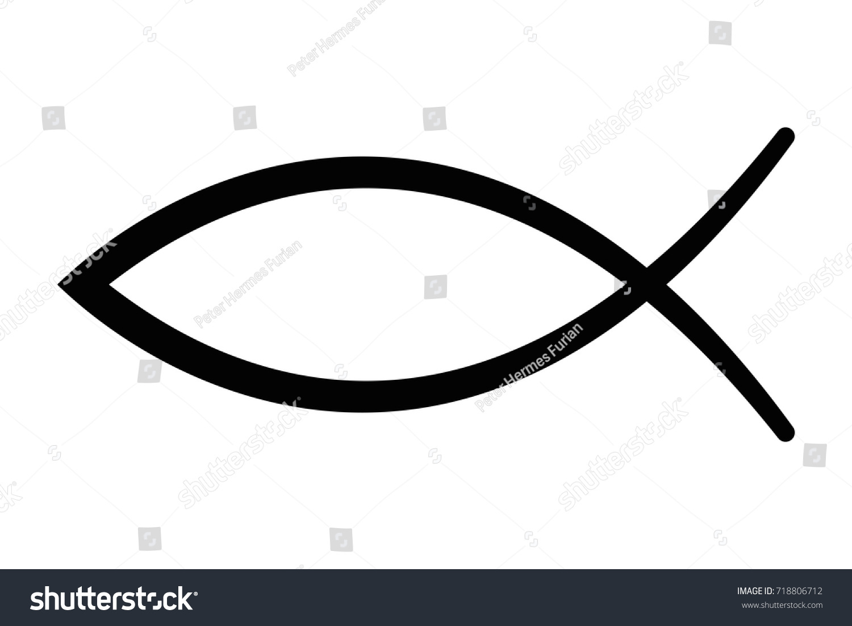 sign fish symbol christian art known stock vector 2018 718806712 rh shutterstock com  jesus fish icon vector