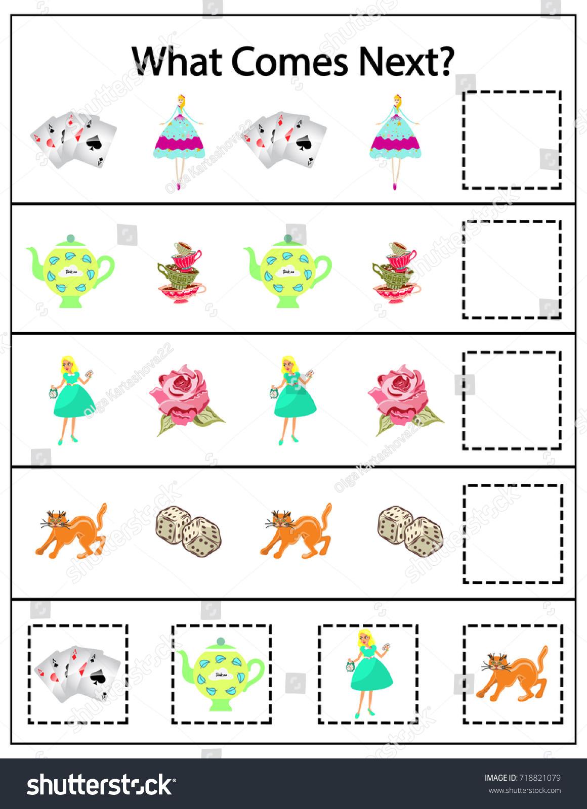 What Comes Next Kindergarten Worksheet Kids Stock Vector 718821079 ...