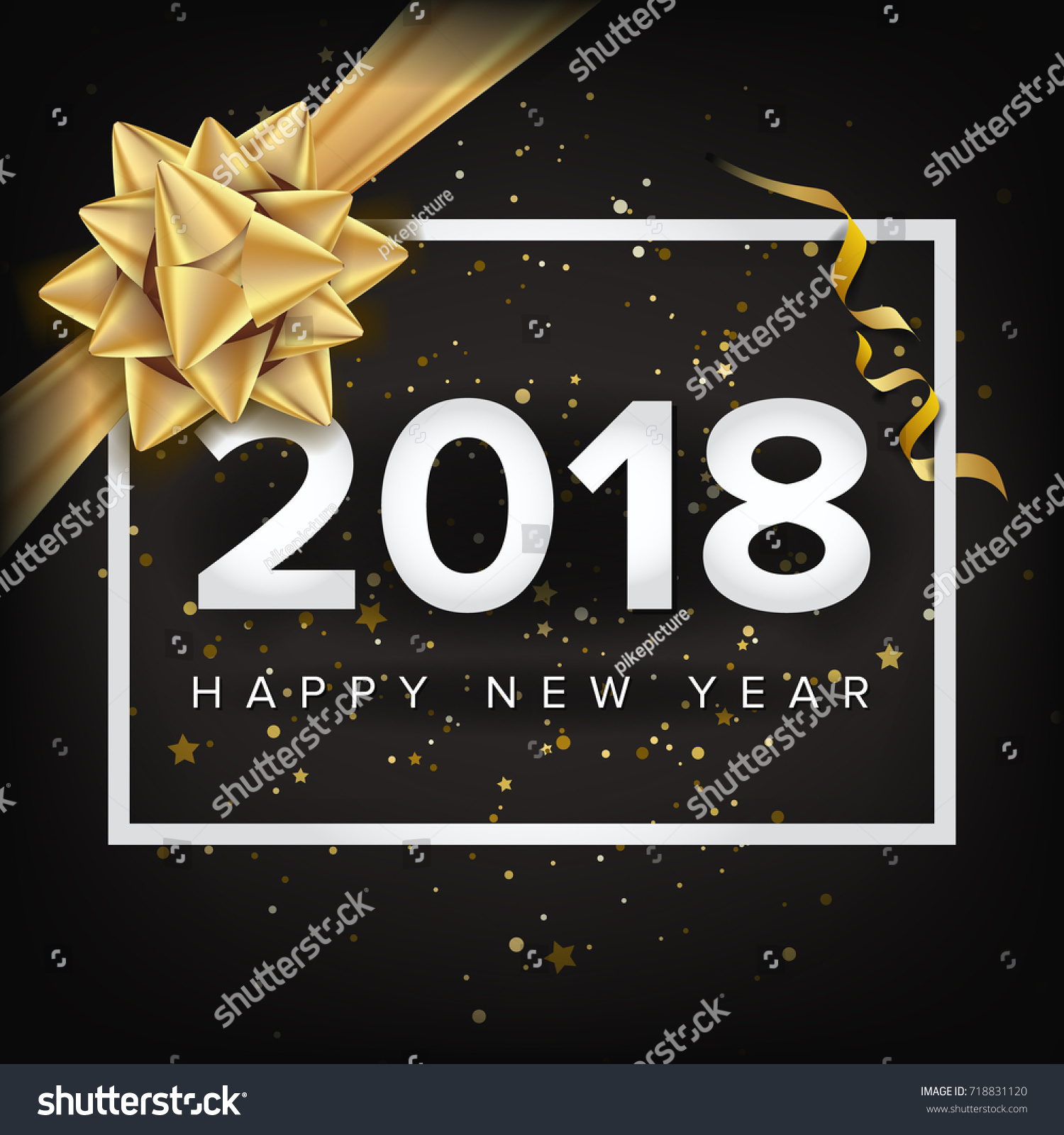2018 Happy New Year. Christmas Greeting Card, Poster, Brochure, Flyer  Template Design