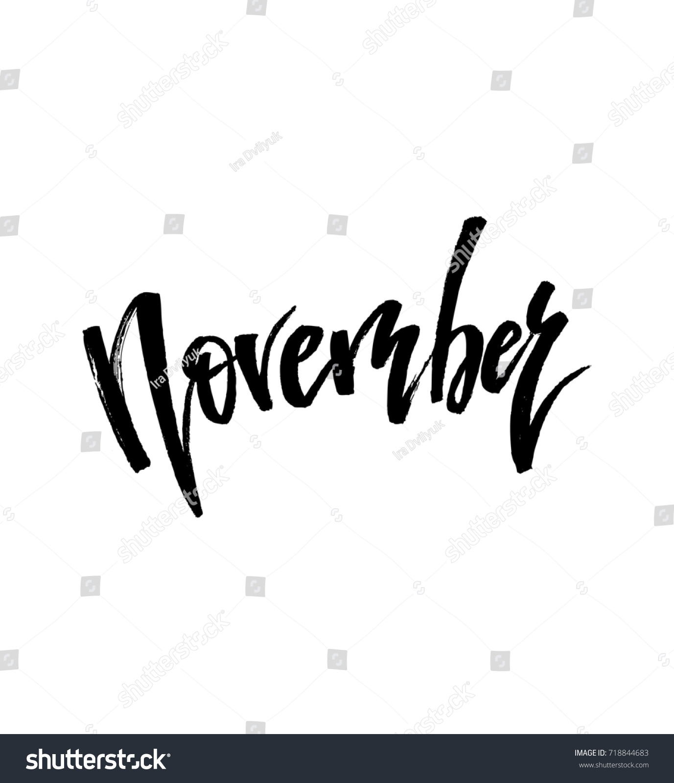 November autumn brush lettering fall greteng stock