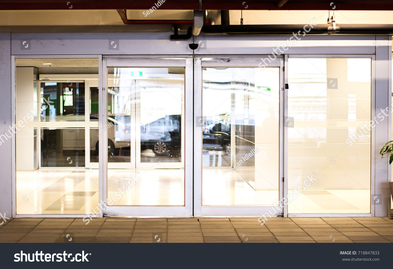 Blank Sliding Glass Doors Entrance Airport Glass Stock Photo Edit