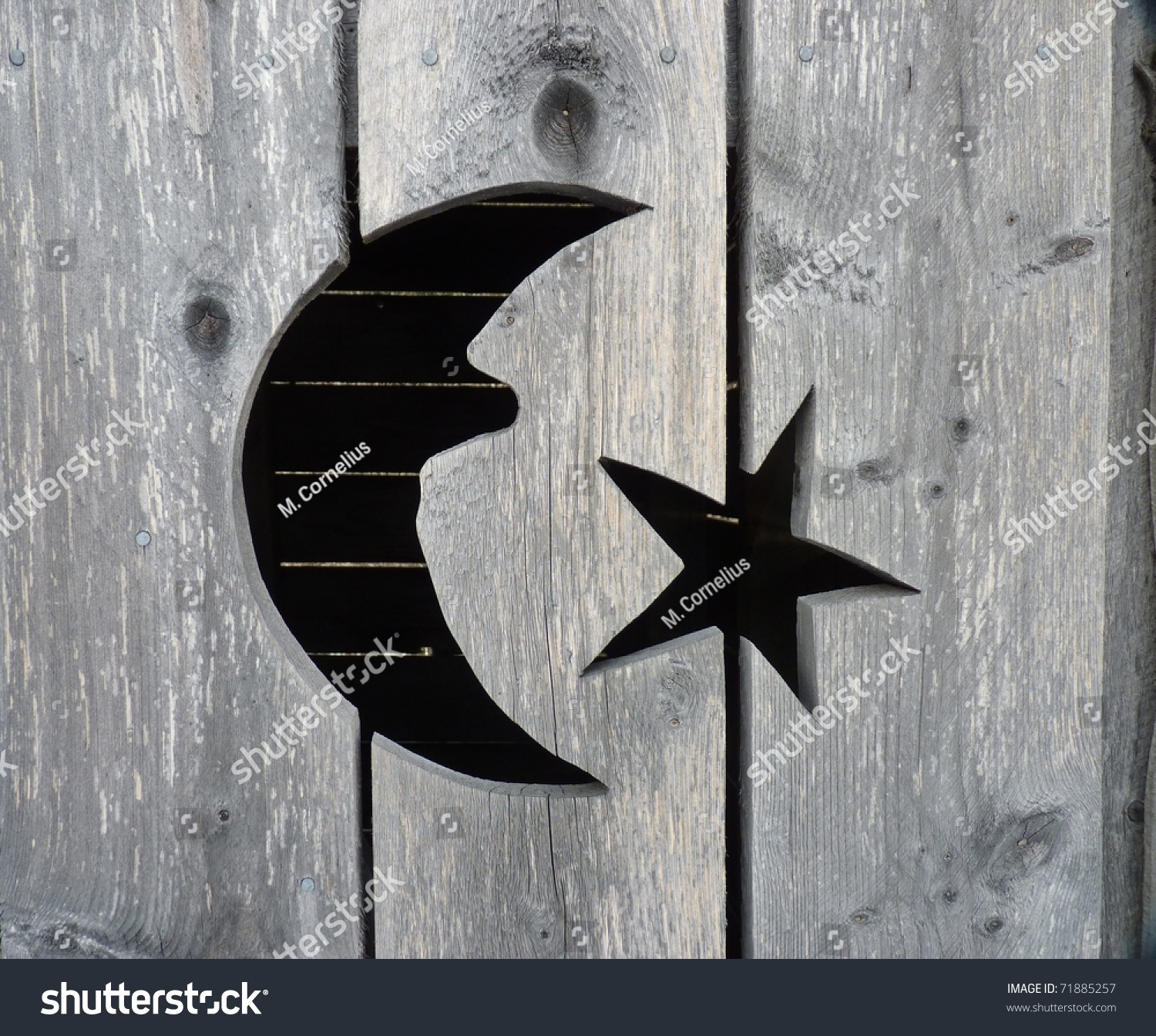 Close Moon Stars Cutout On Rustic Stock Photo Edit Now 71885257