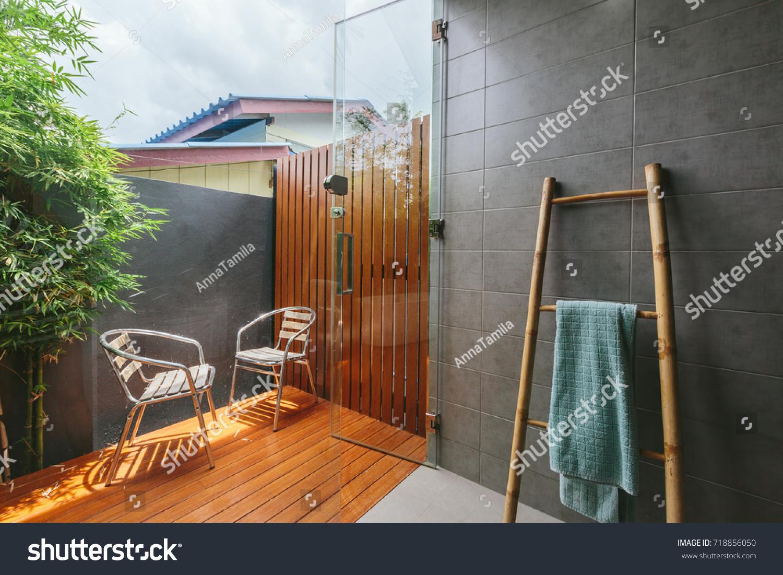 Outdoor Bathroom Tropical Villa Bamboo Ladder Stock Photo
