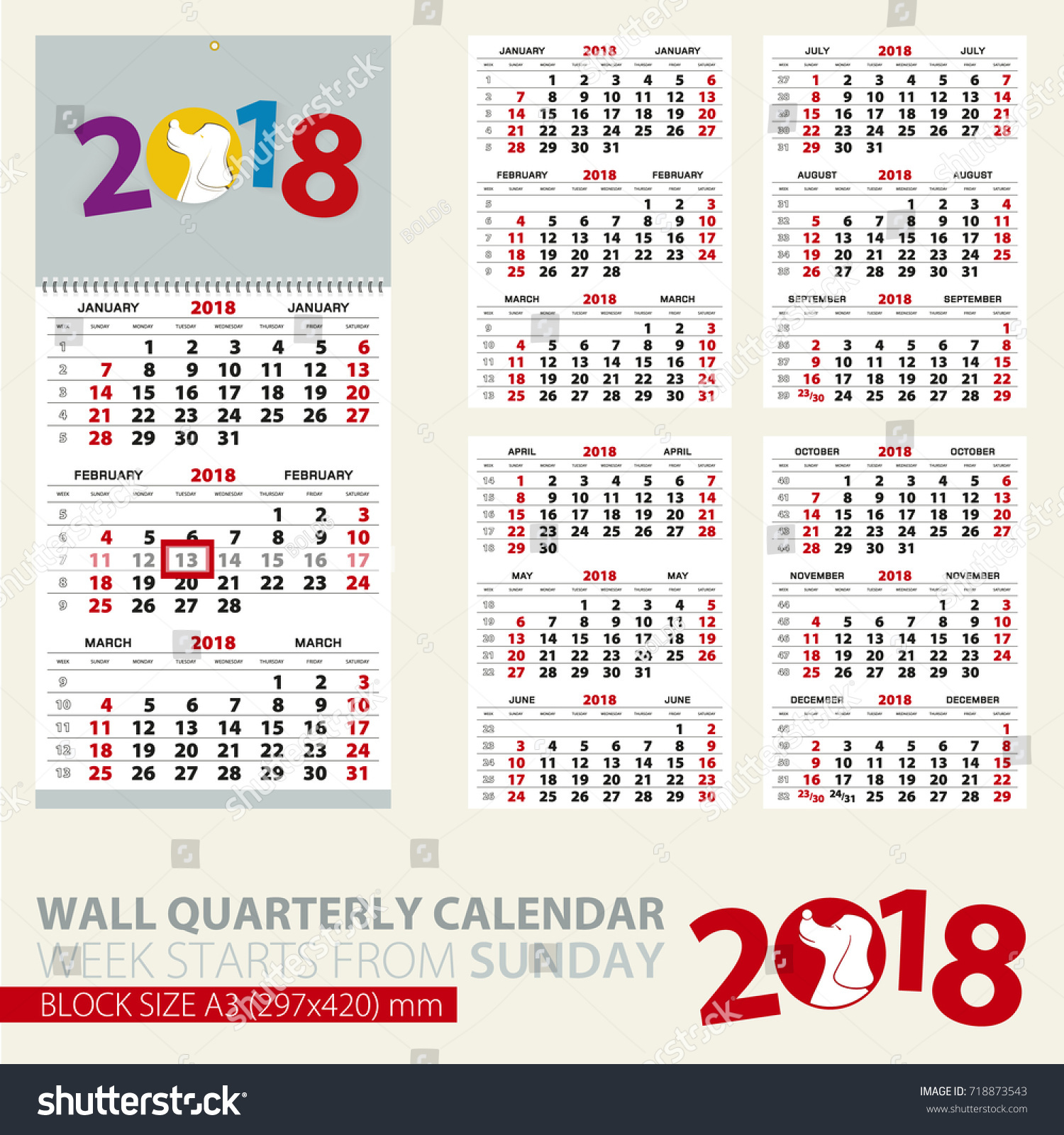 Print Template Wall Quarterly Calendar 2018 Stock Vector Royalty