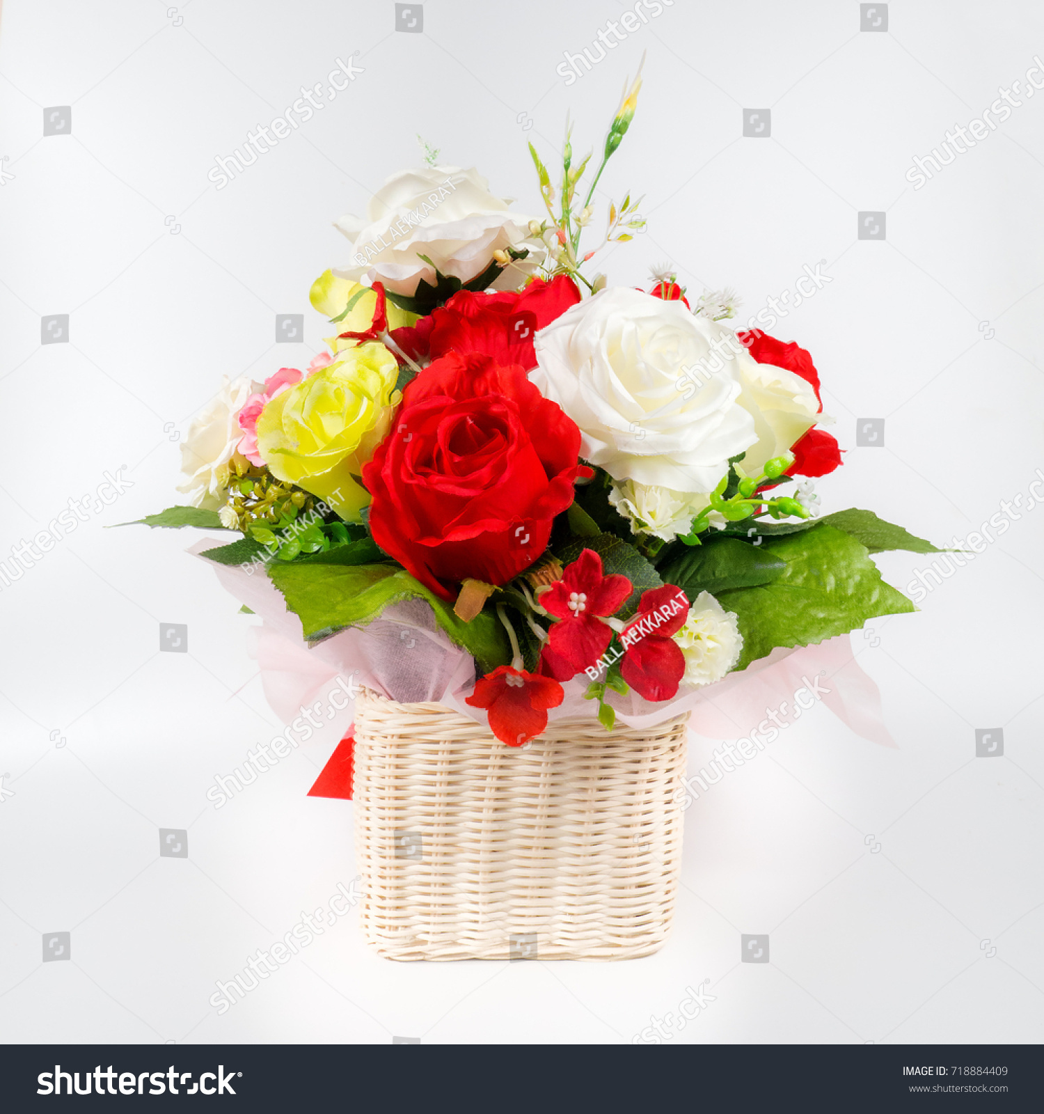 Beautiful Rose Flower Bouquet On White Stock Photo (Edit Now ...