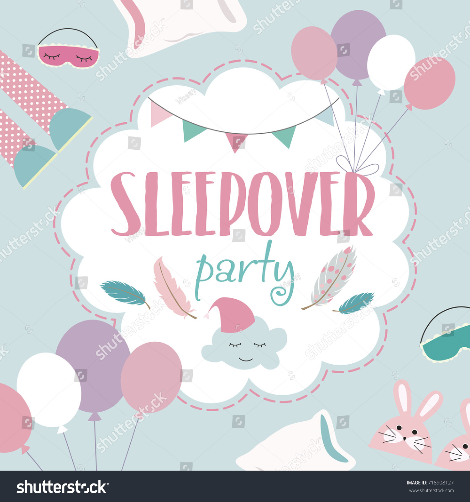 Slumber Party Invitation Card Birthday Invitation Stock Vector ...