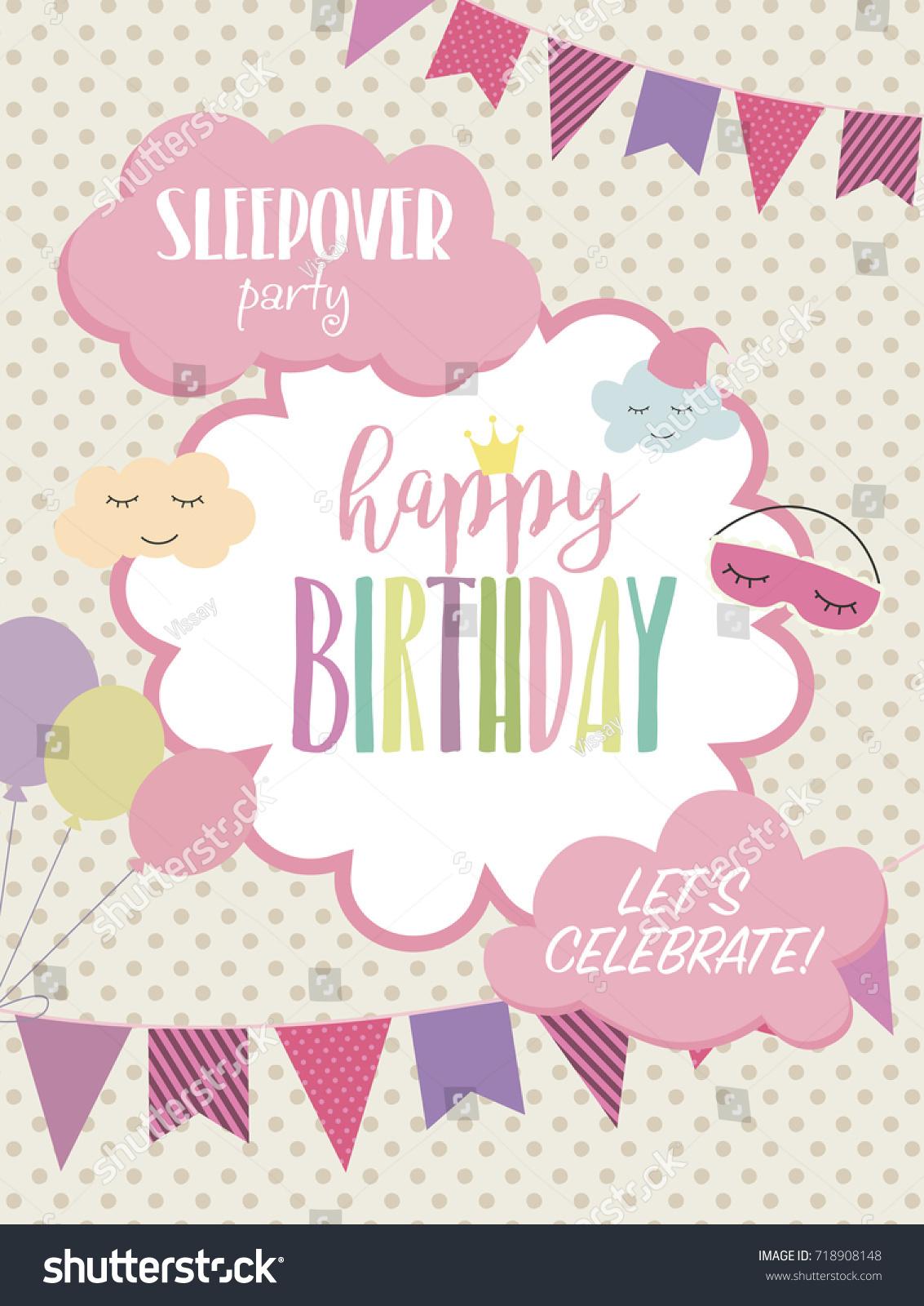 Slumber party invitation card. Birthday invitation card. Vector ...