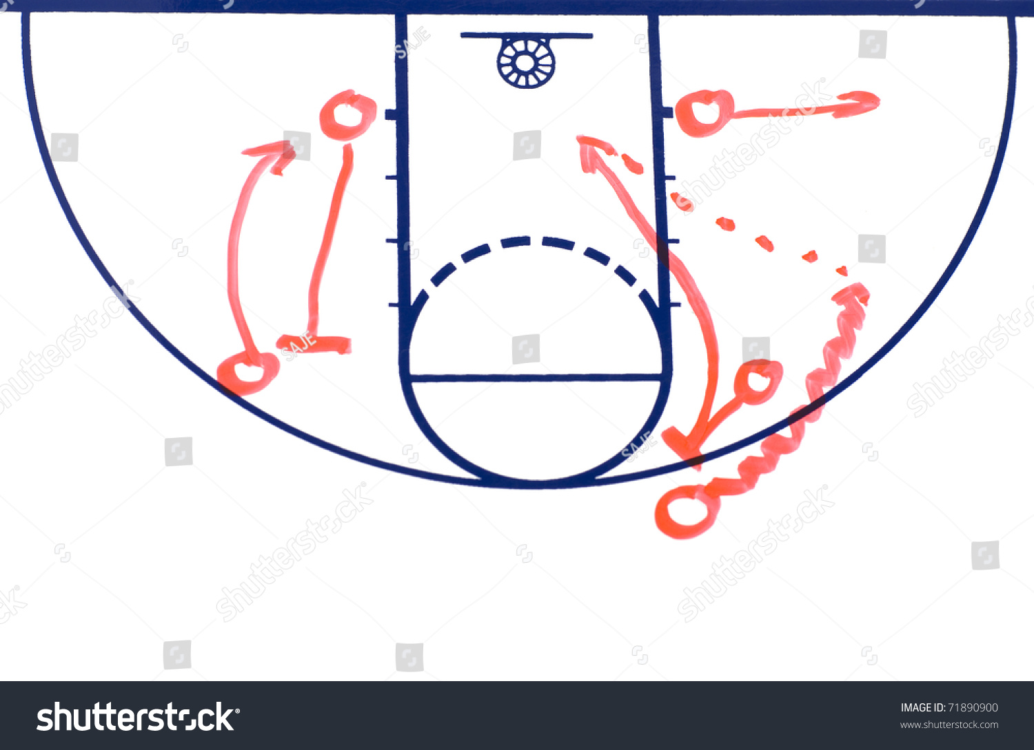 basketball background diagram on a white board showing a pick and roll play stock photo 71890900