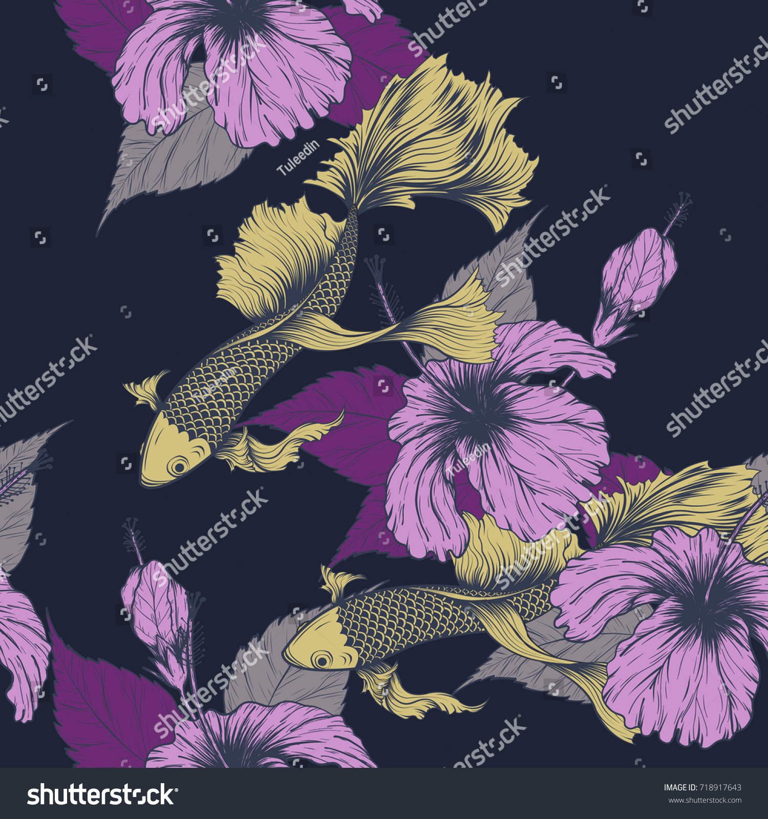 Koi fish hibiscus flower pattern by stock photo photo vector koi fish and hibiscus flower pattern by hand drawing art highly detailed in line izmirmasajfo