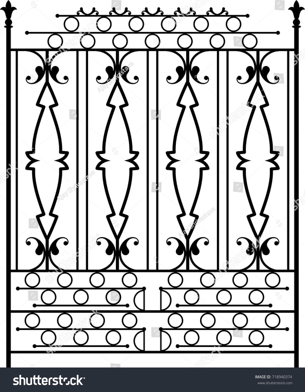 Wrought Iron Gate Ornamental Design Vector Stock Vector