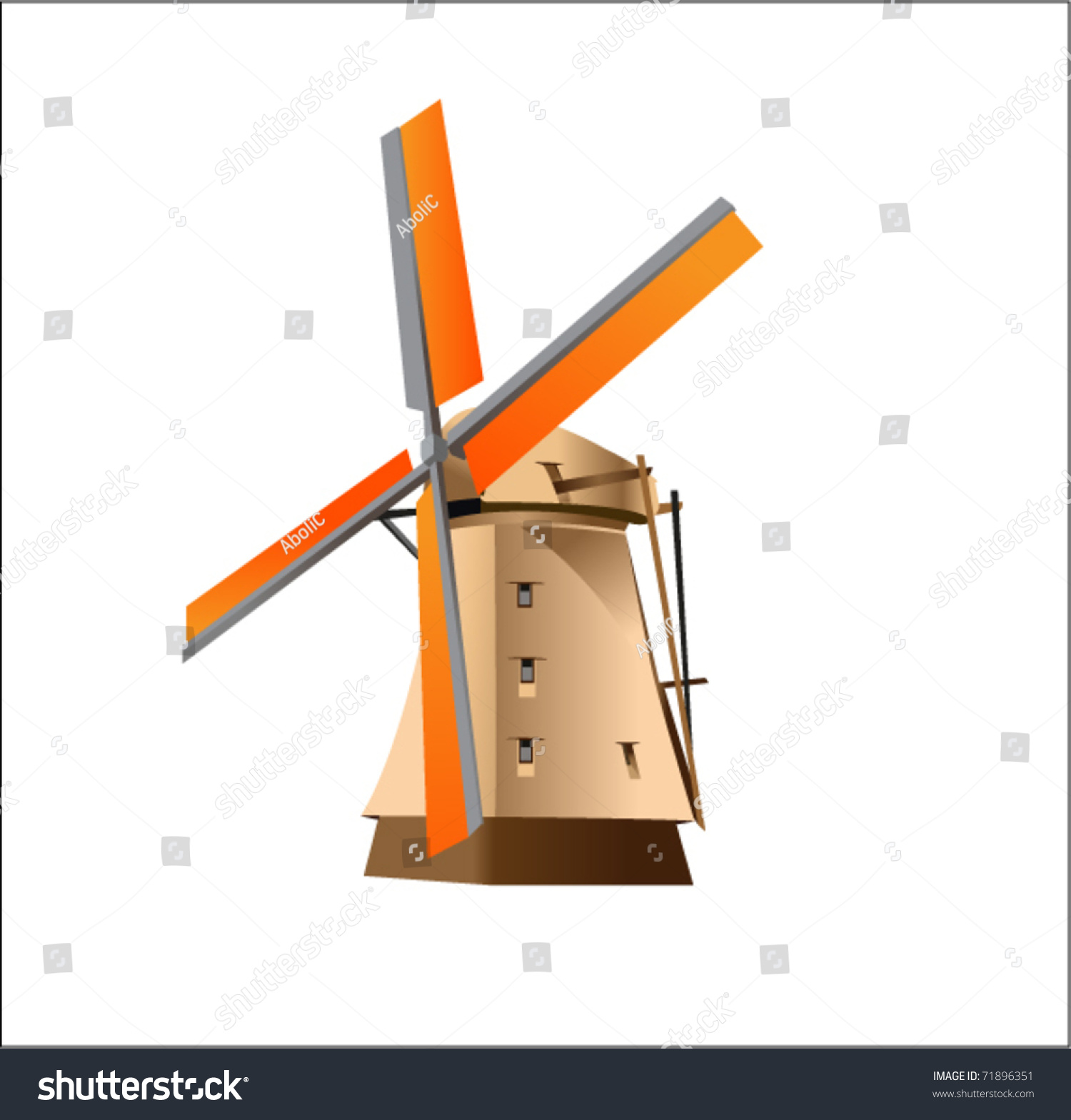 Dutch Windmill Stock Vector 71896351 - Shutterstock