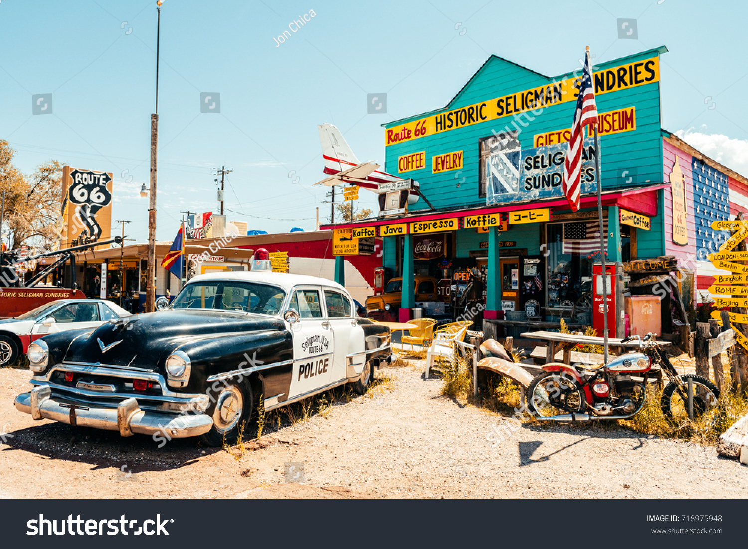 seligman. arizona. 28th august, 2017: famous seligman town of route