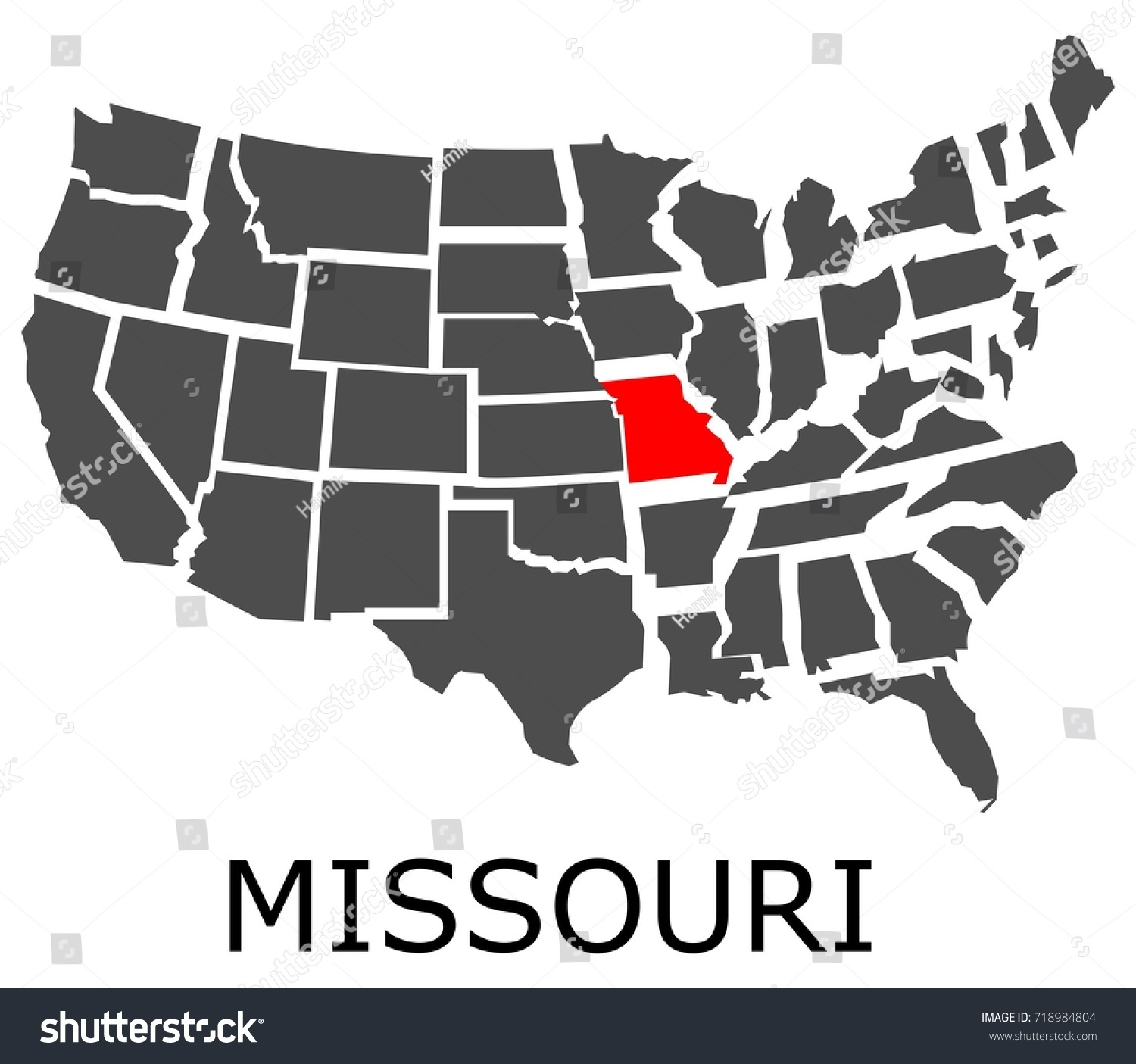Bordering Map Usa State Missouri Marked Stock Vector - Missouri on map of usa
