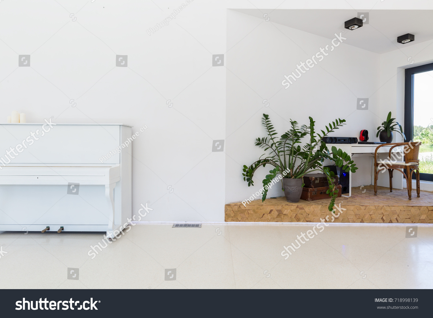 Part Bright Living Room Piano Working Stock Photo 718998139 ...