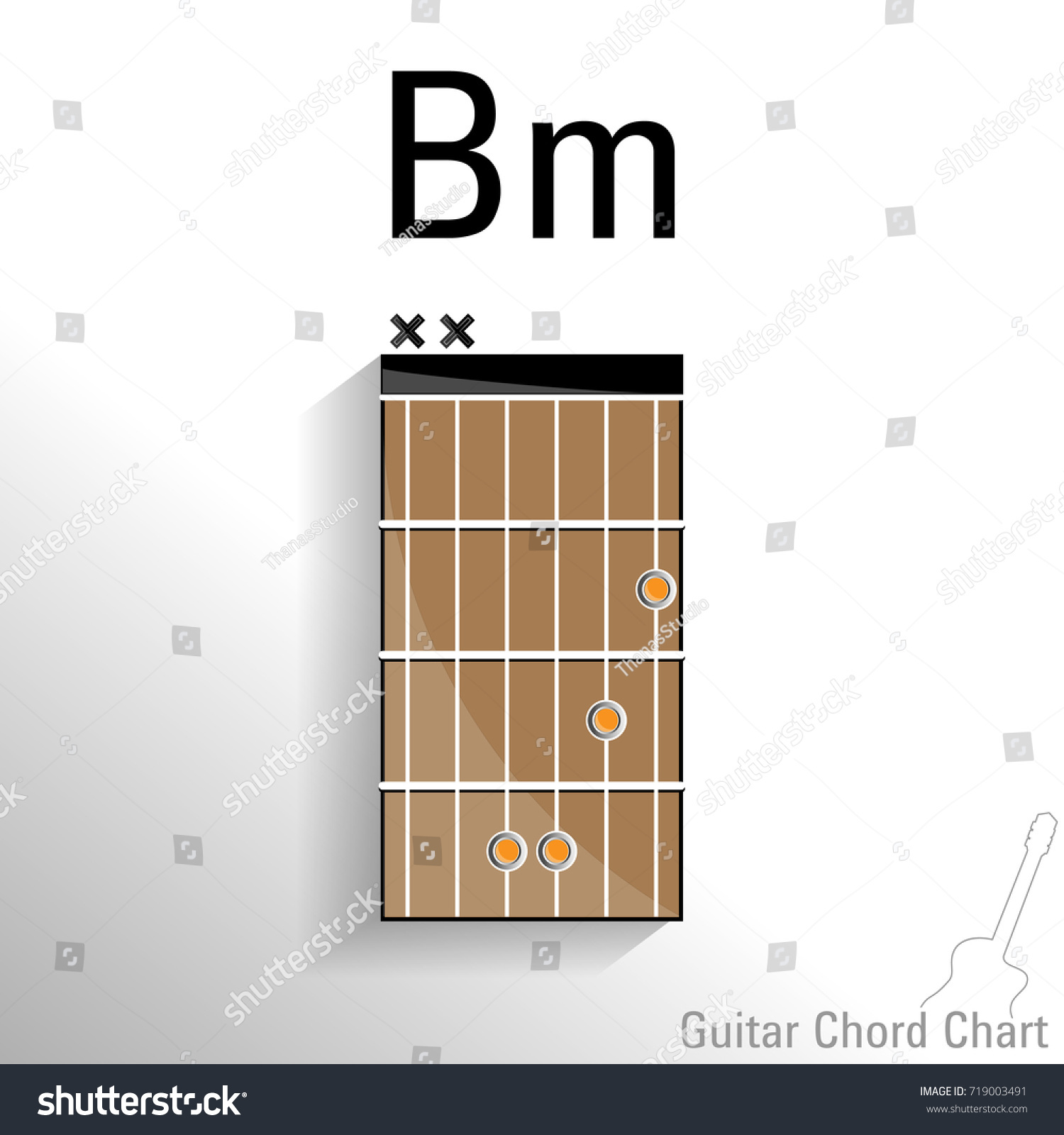 Guitar Chord Bm Chart Vector Design Stock Vector 719003491
