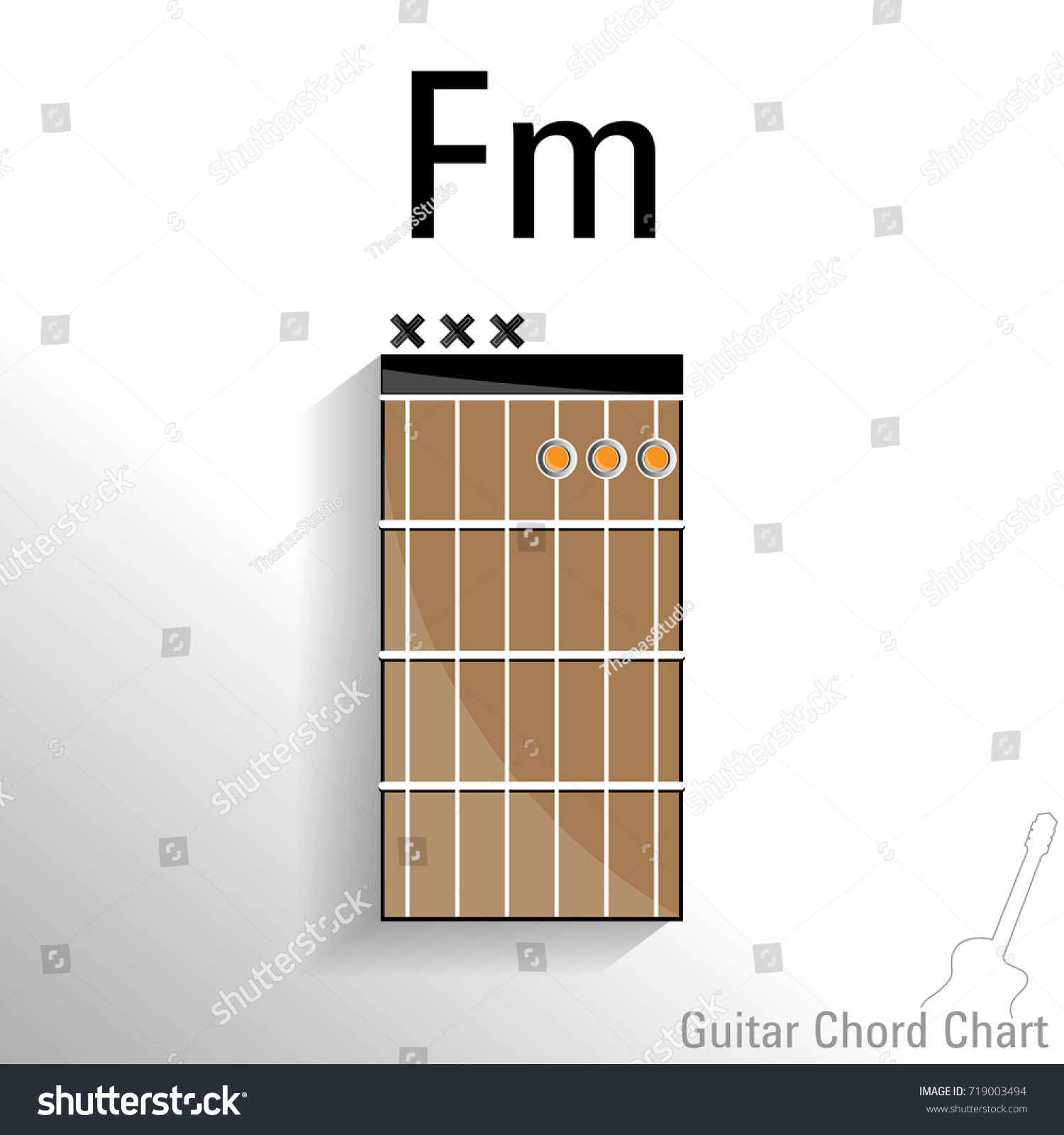 Guitar Chord Fm Chart Vector Design Stock Vector Royalty Free
