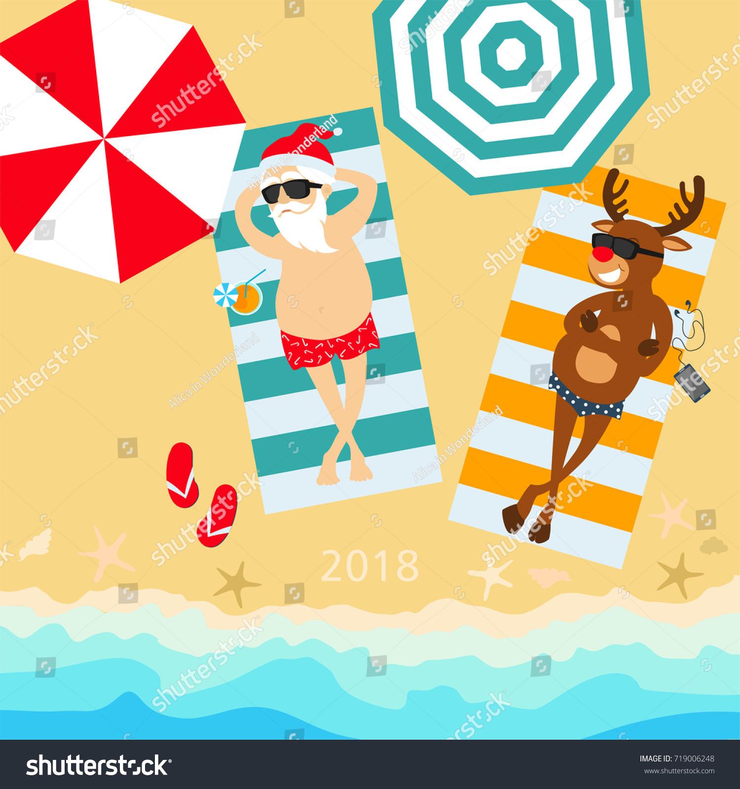 Christmas Holiday 2018 Santa Claus Deer Stock Vector (Royalty Free ...