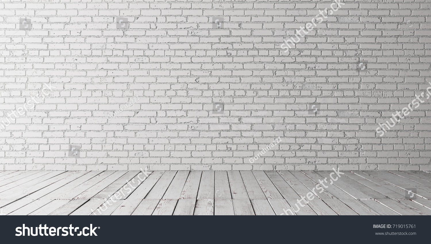 White empty place with wooden floors and brick wall. Mock up ...