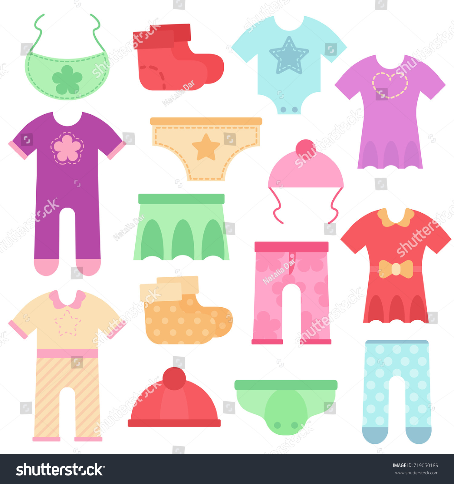 Baby Clothes Kids Colorful Bright Bodysuits Stock Vector