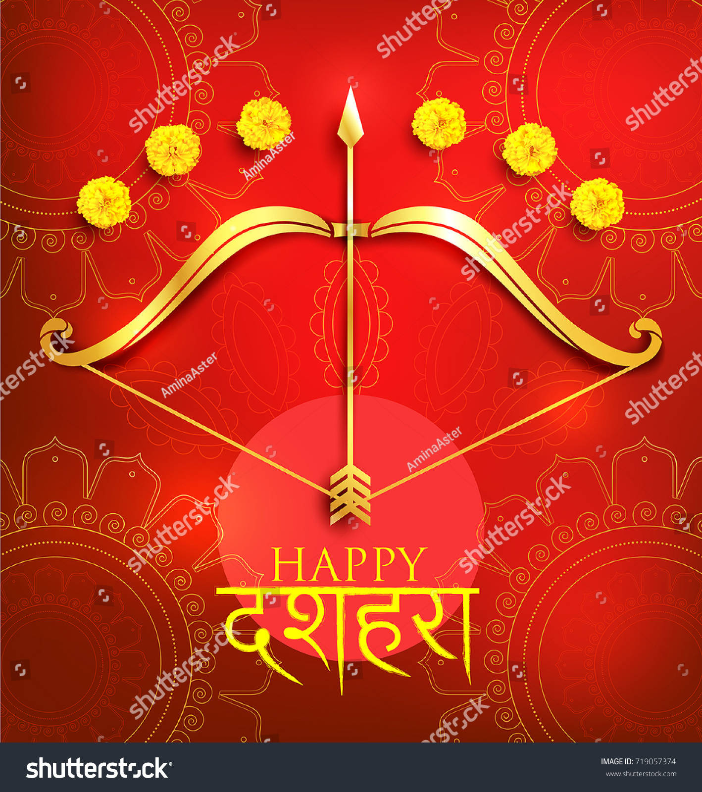 Greeting card bow arrow navratri festival stock vector 719057374 greeting card with bow and arrow for navratri festival with hindi text meaning dussehra hindu kristyandbryce Choice Image