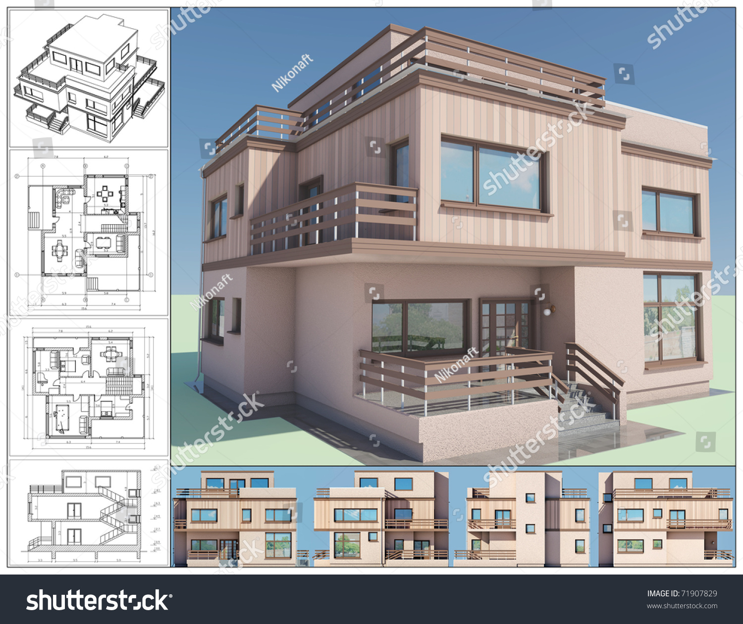 3d isometric view abstract residential house stock